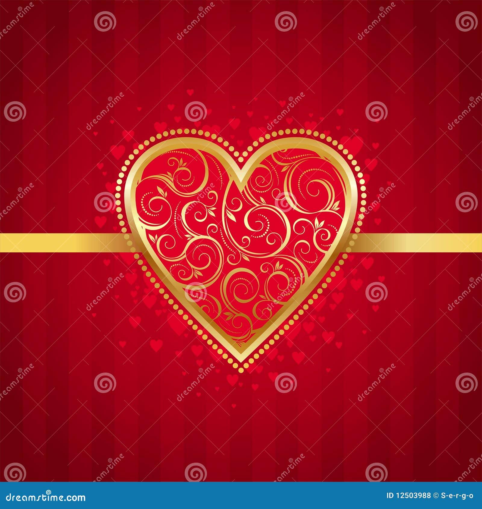 Valentinsgrüße kardieren mit goldenem aufwändigem Innerem