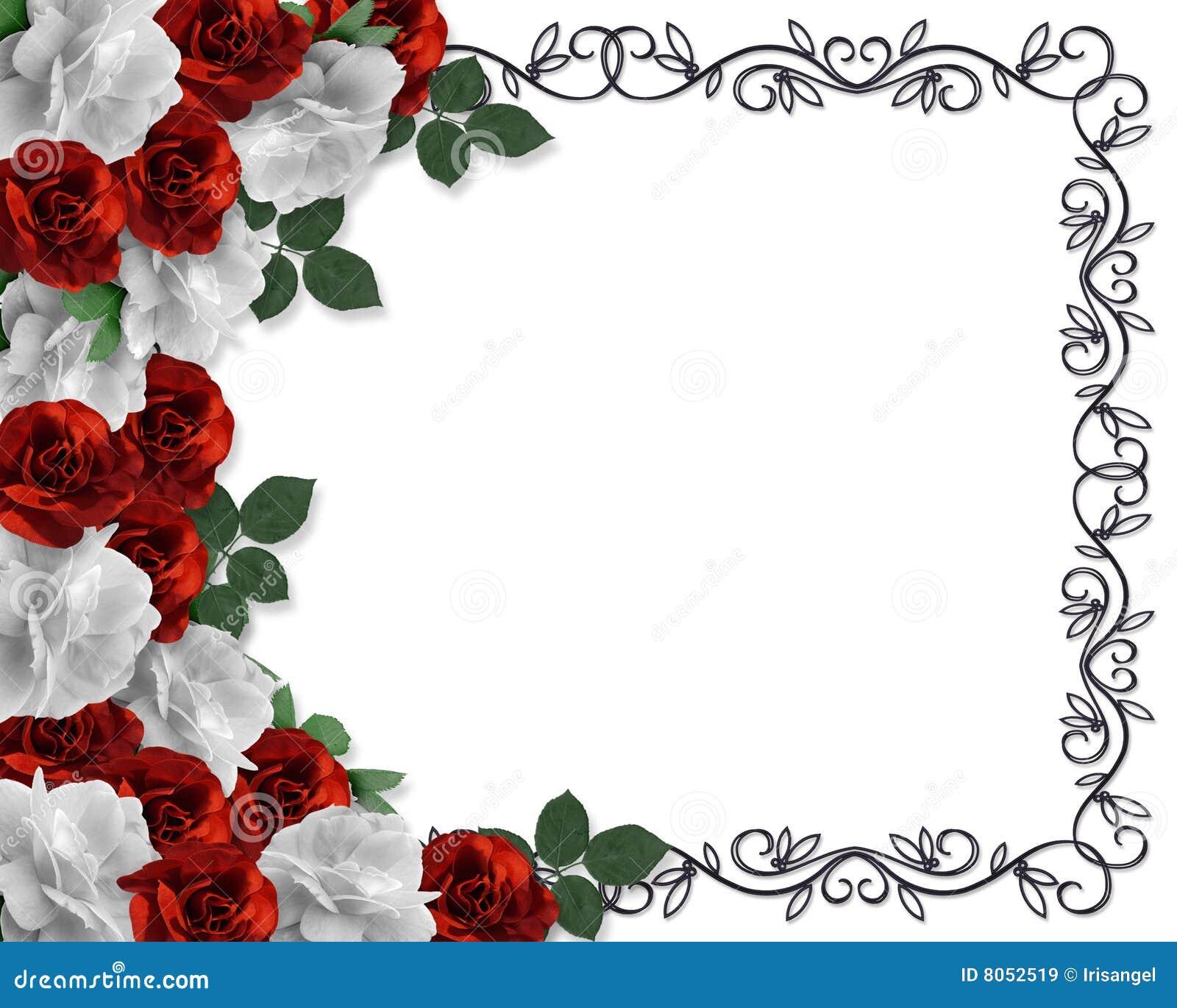 Valentinsgruß-oder Hochzeits-Rand-Rosen