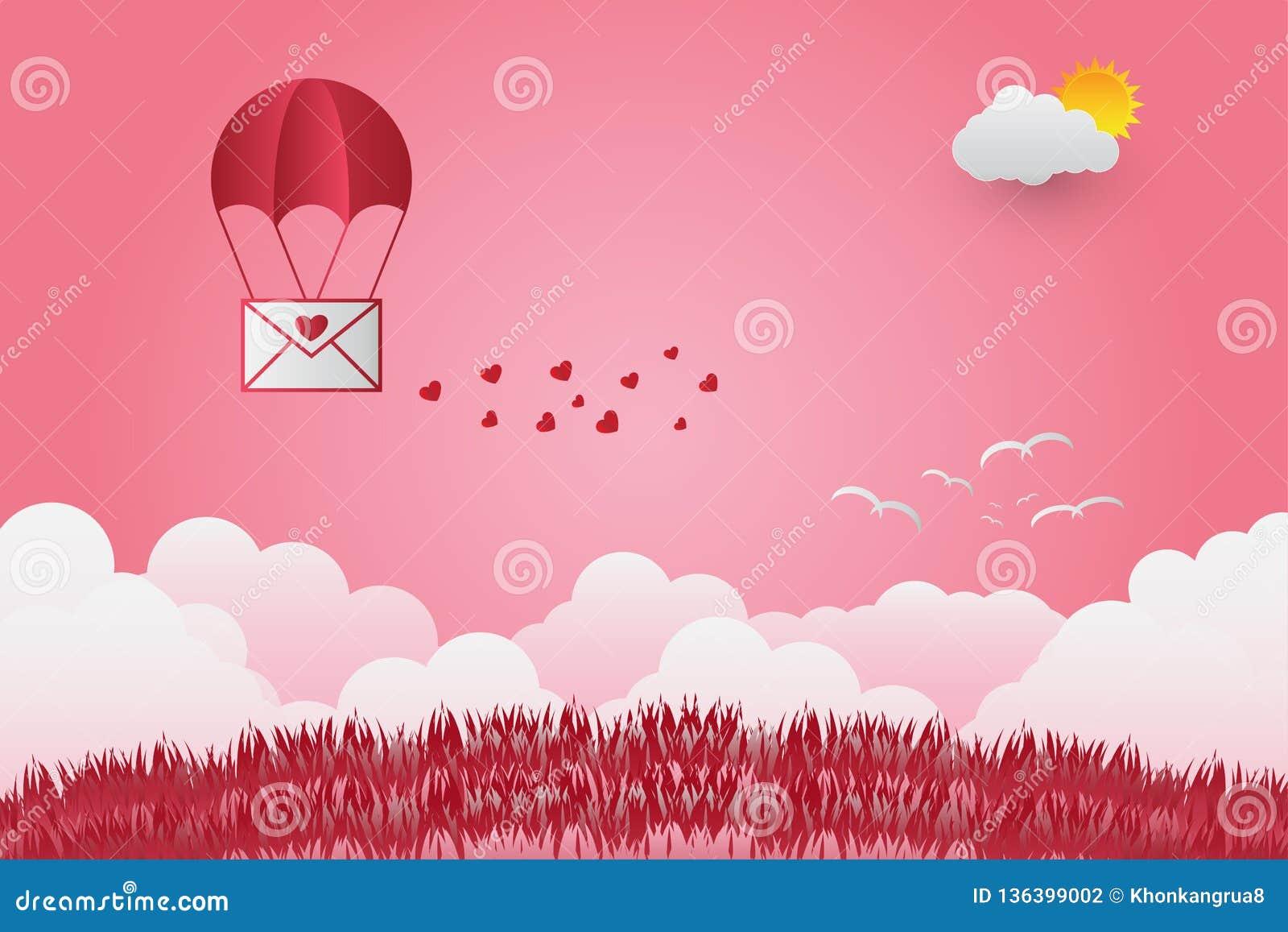 Valentinsgruß ` s Tag steigt in einem Herz geformten Fliegen über Grasansichthintergrund, Papierkunstart im Ballon auf Set der lu