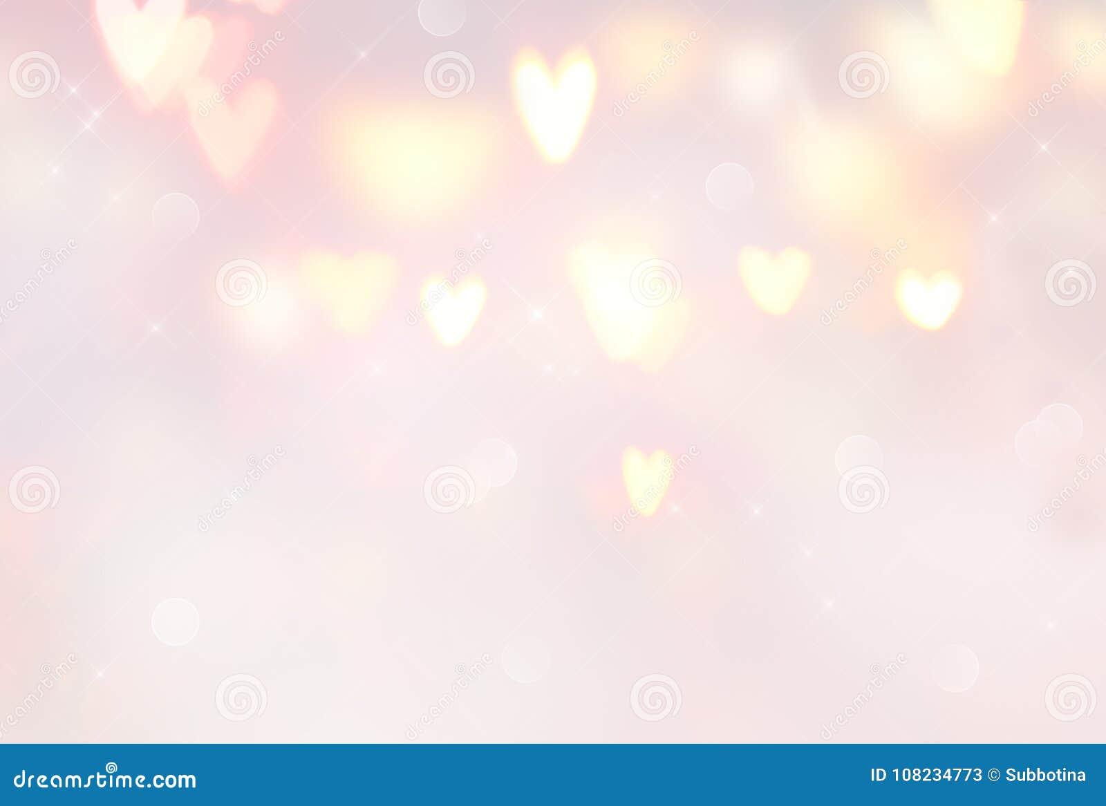 Valentinsgruß ` s Tageshintergrund Abstrakter glühender Herzhintergrund Pastellfarben, Rosa und Beige