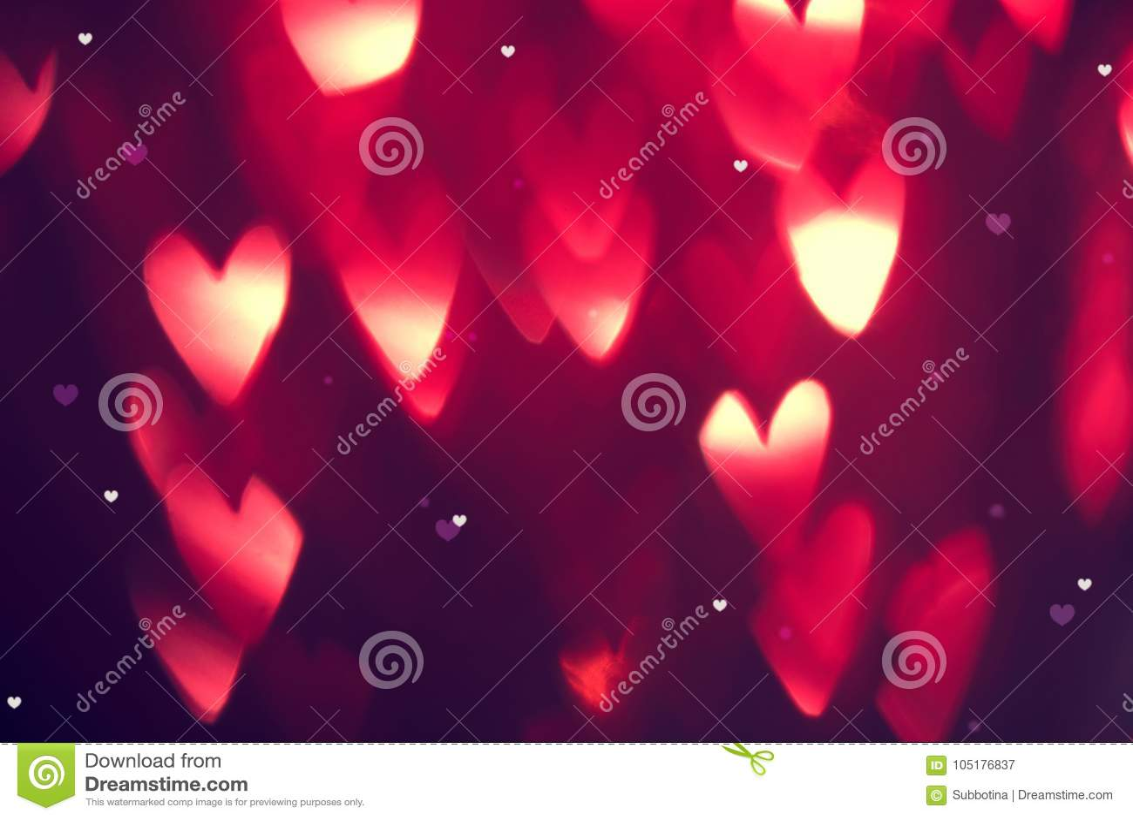Valentinsgruß ` s Tageshintergrund Feiertagshintergrund mit roten glühenden Herzen