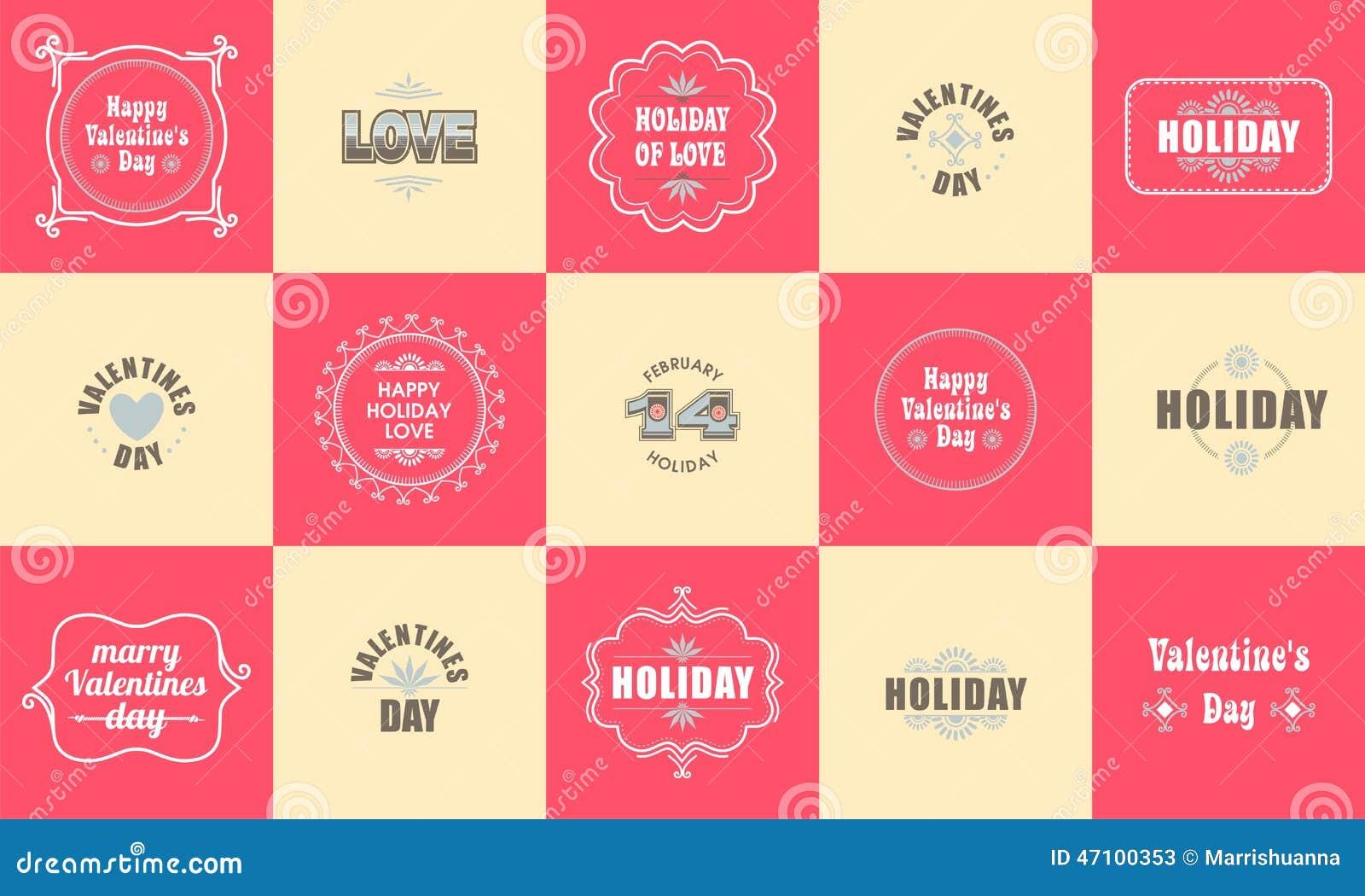 Valentinsgruß-Tageselement für Design, LabelValentines-Tagessatz beschriftet Embleme