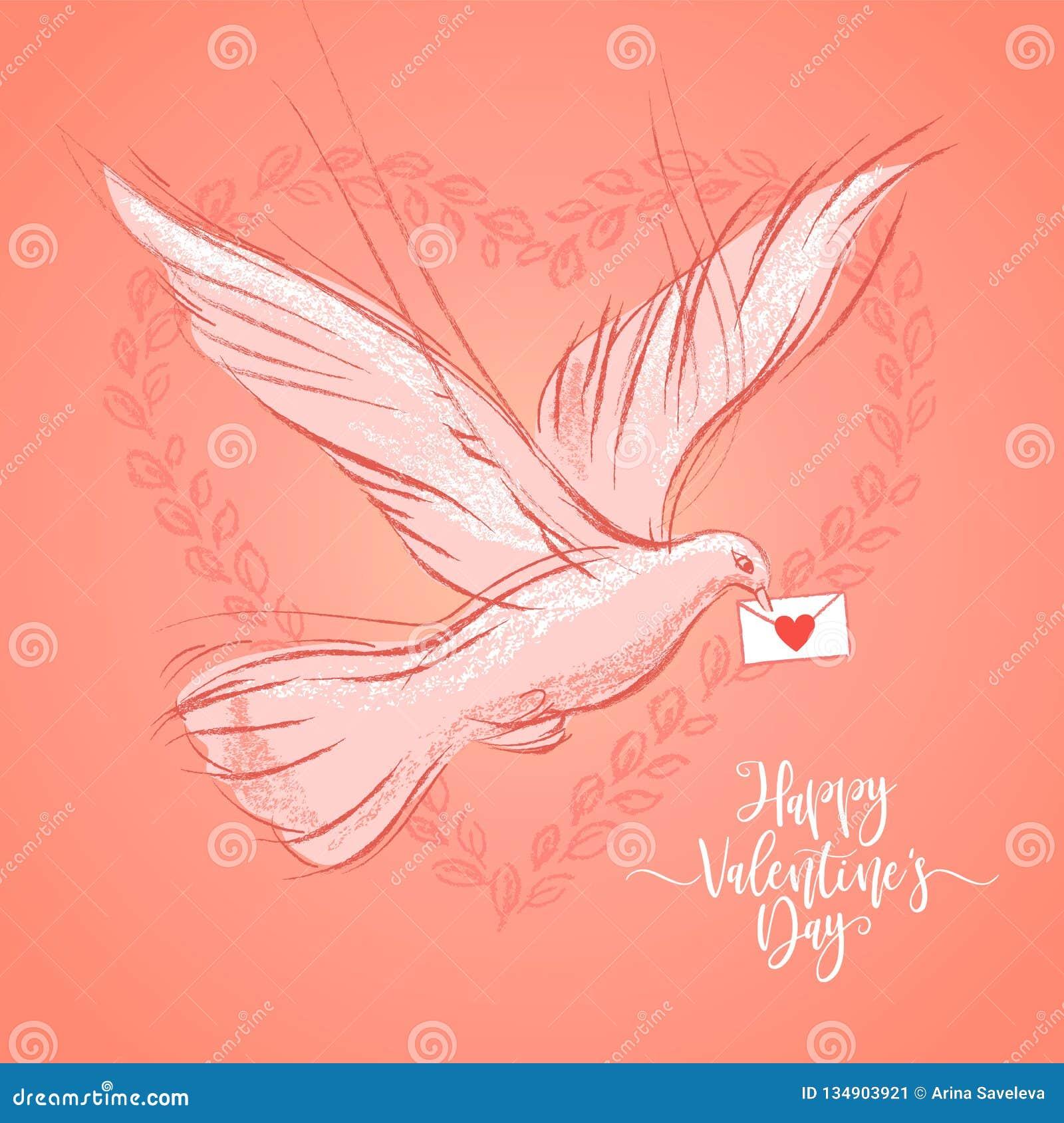 Valentinsgruß-Tagespostkarte mit Taube auf korallenrotem Farbhintergrund Vektorillustration, Gestaltungselement für Glückwunsch