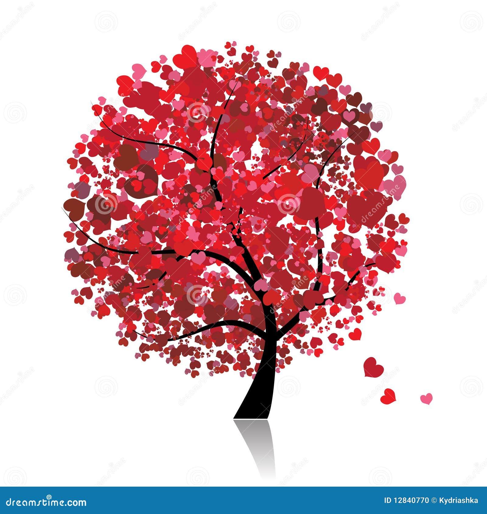 Valentinsgrußbaum, Liebe, Blatt von den Inneren
