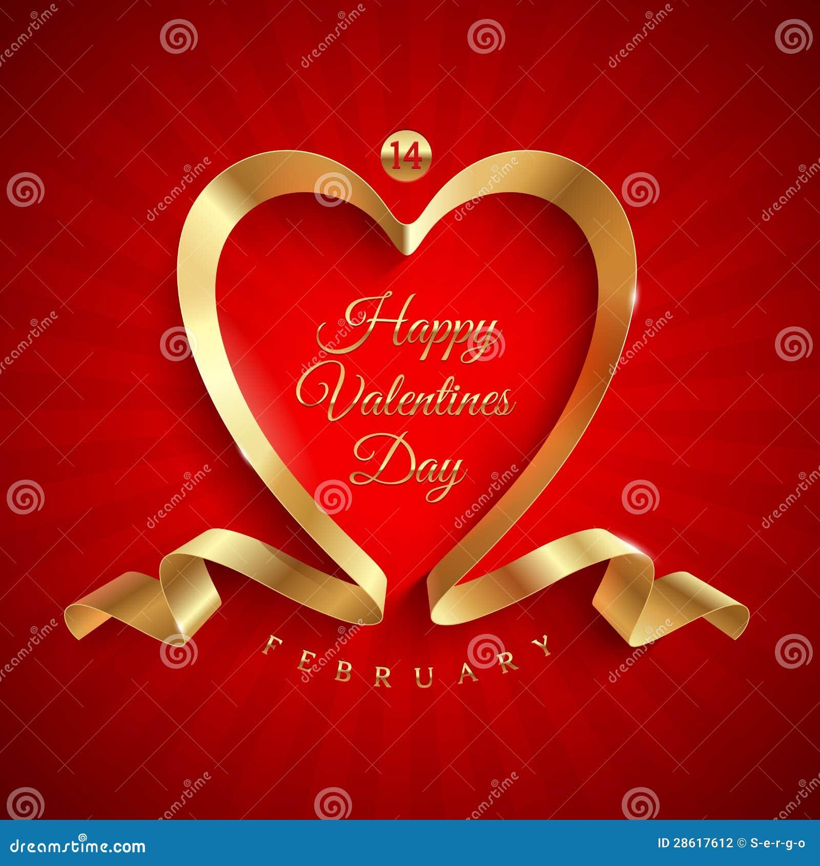 Valentinsgrußtagesgruß mit goldenem Farbband