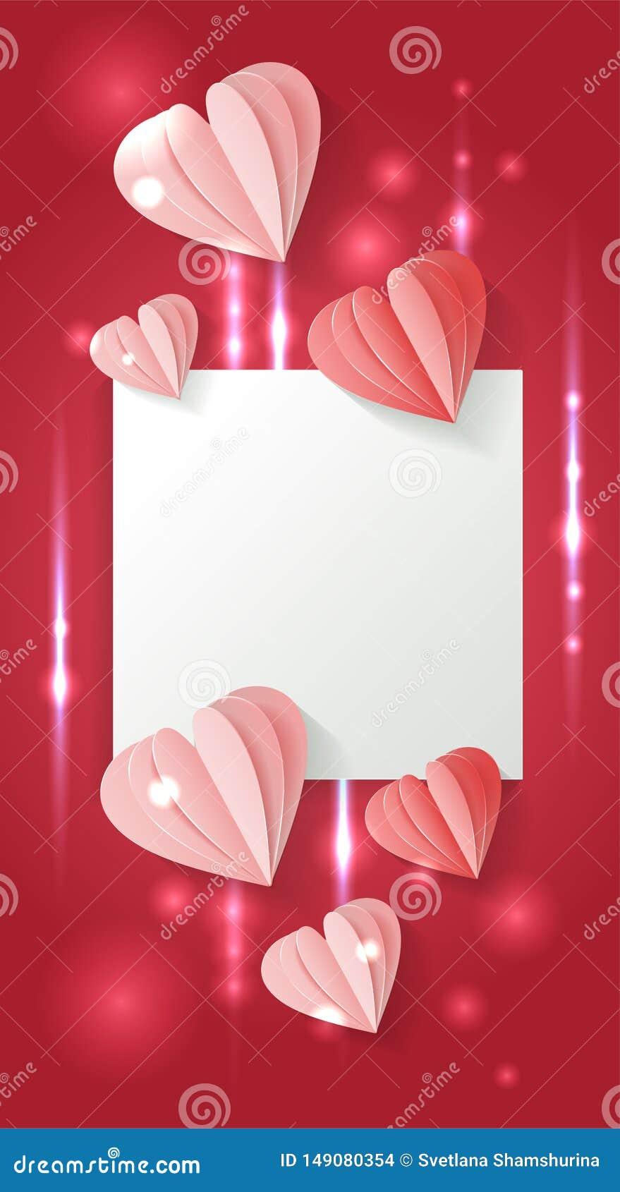 Valentinsgru?tagesvertikaler Hintergrund mit Papierroten und rosa Herzen des schnittes formen Muster Vektorvolumenillustration mi