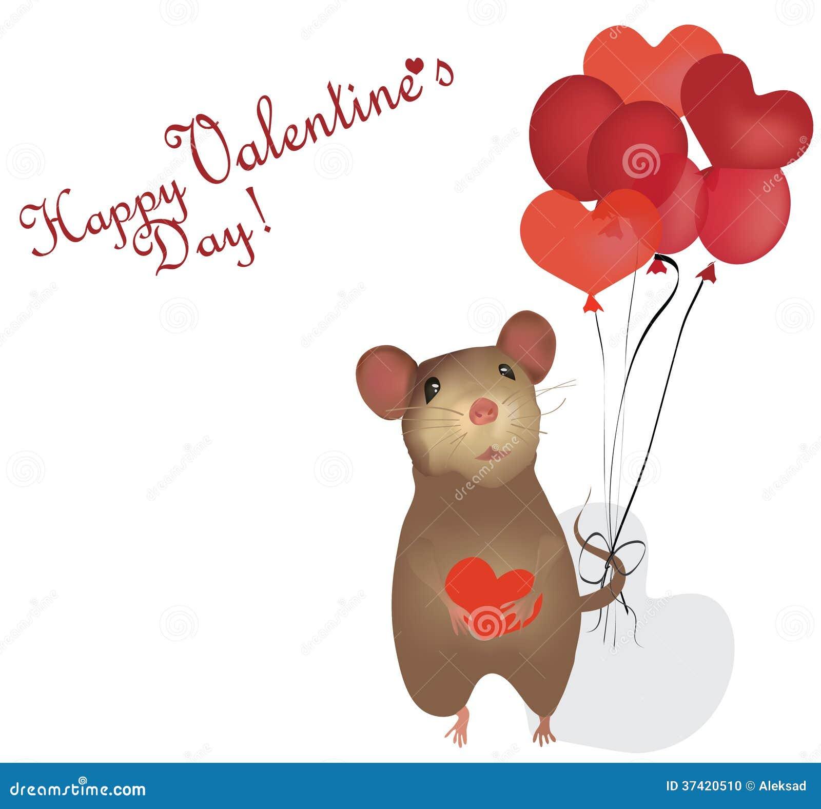 Valentinstag Karte. St. Valentine Day Mit Maus Und Herzen