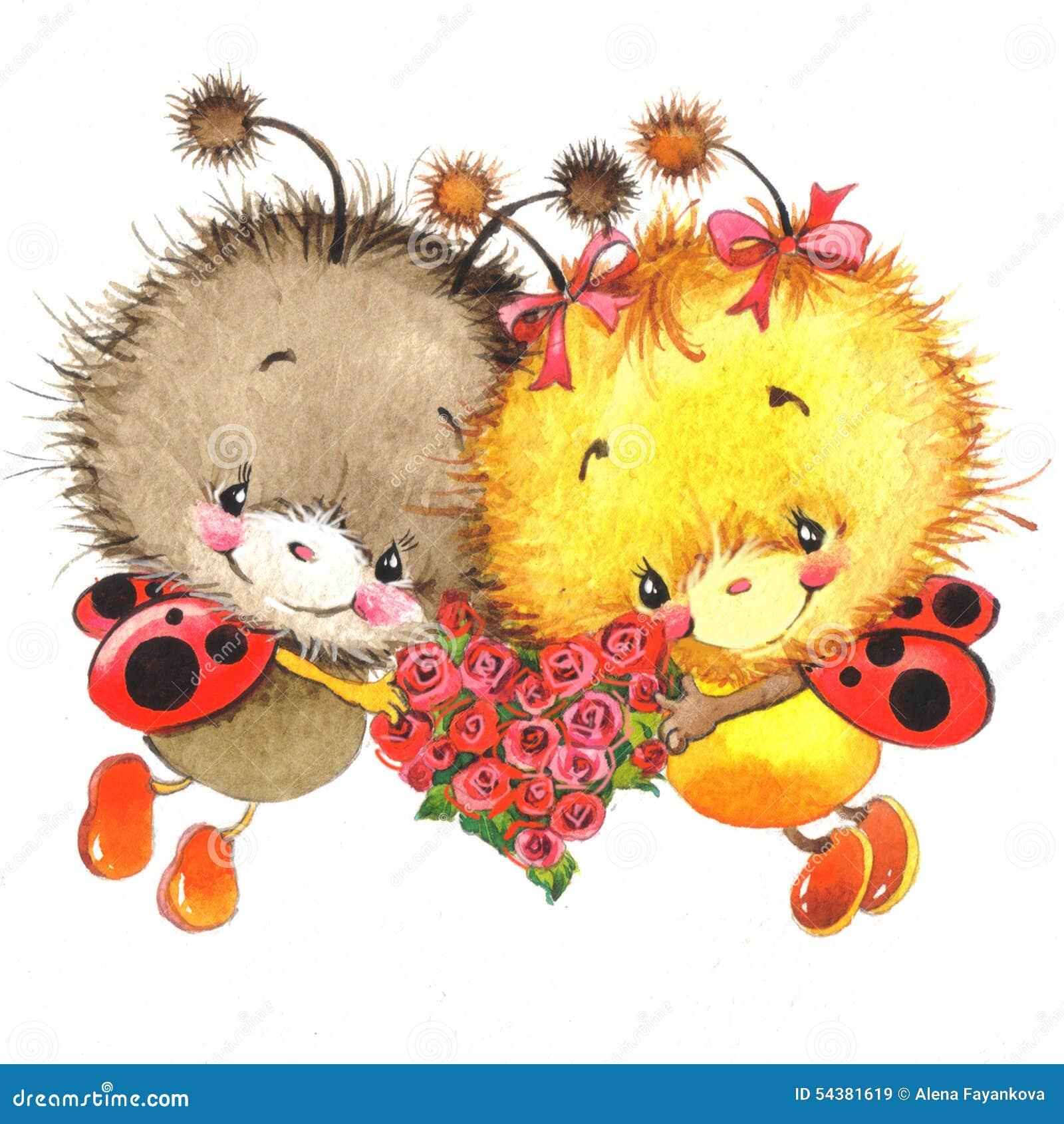 Valentinstag Und Netter Marienkafer Rotes Herz Stock Abbildung
