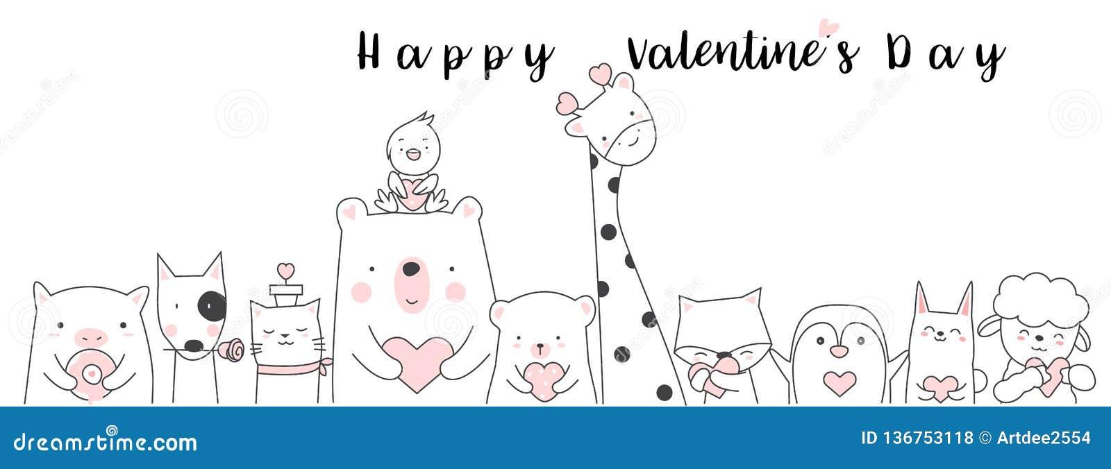 Valentinstaghintergrund mit Tierkarikatur h des netten Babys