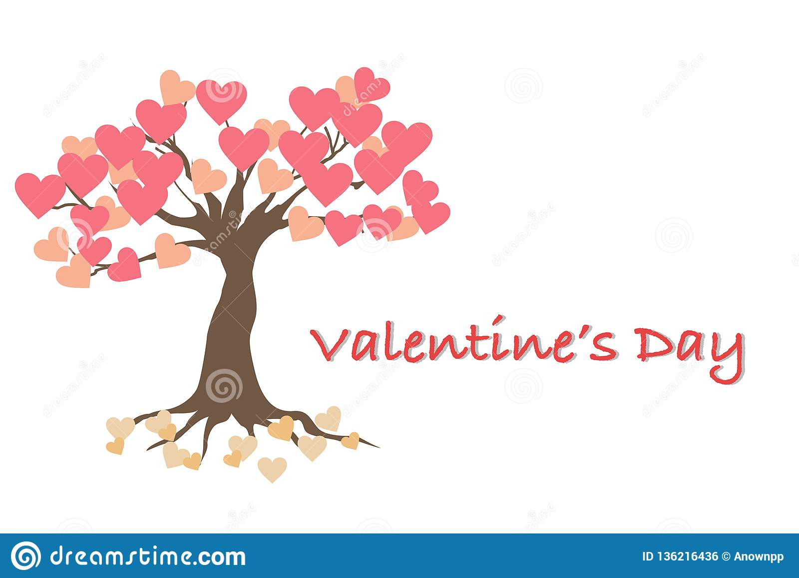 Valentinstagkarte mit dem Baum der Liebe