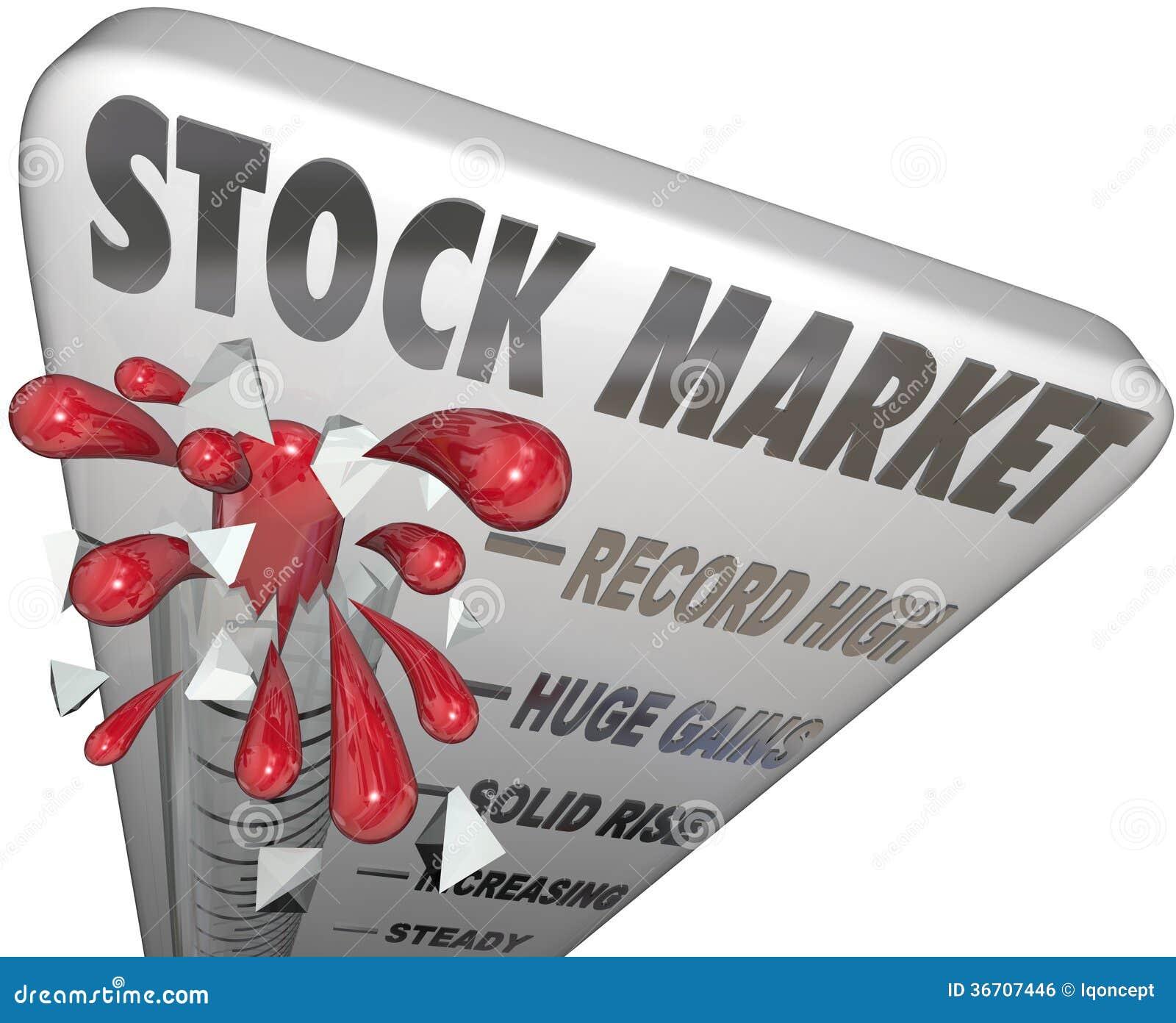 Valeurs en hausse de thermomètre de marché boursier gagnant l argent
