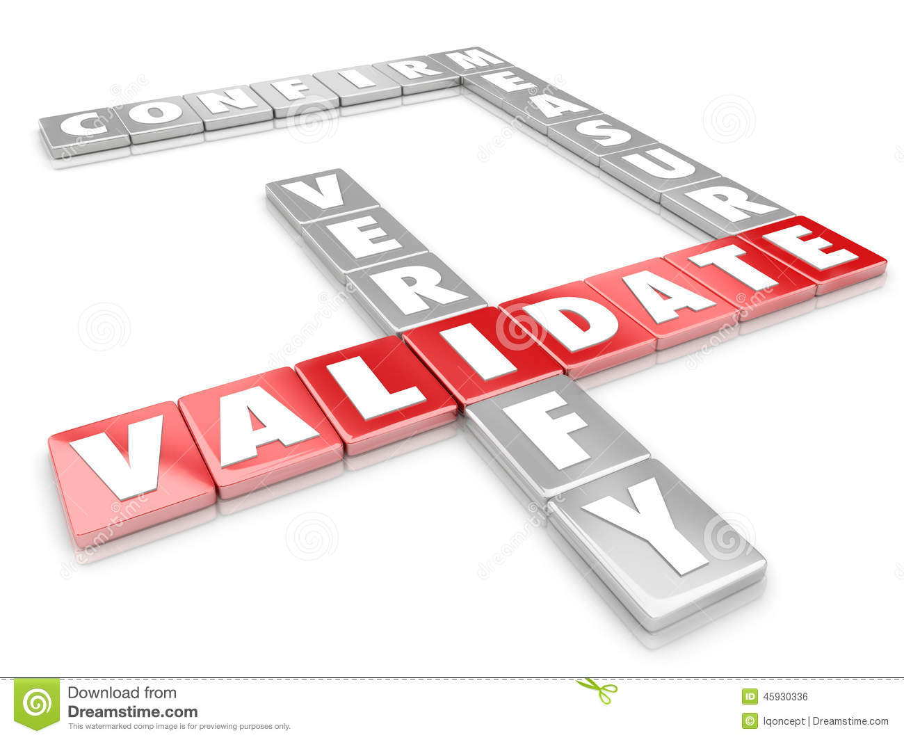 Validate Word Letter Tiles Certify Verify Confirm Measure Stock