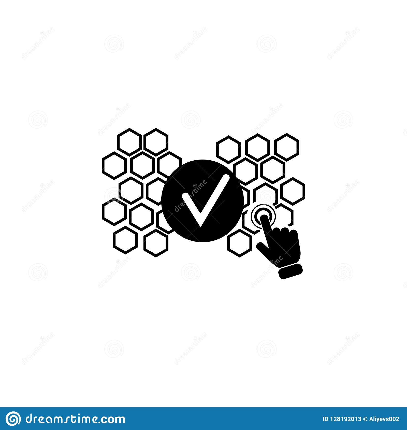 Validation process concept on touch screen icon. Element of touch screen technology icon. Premium quality graphic design icon. Sig
