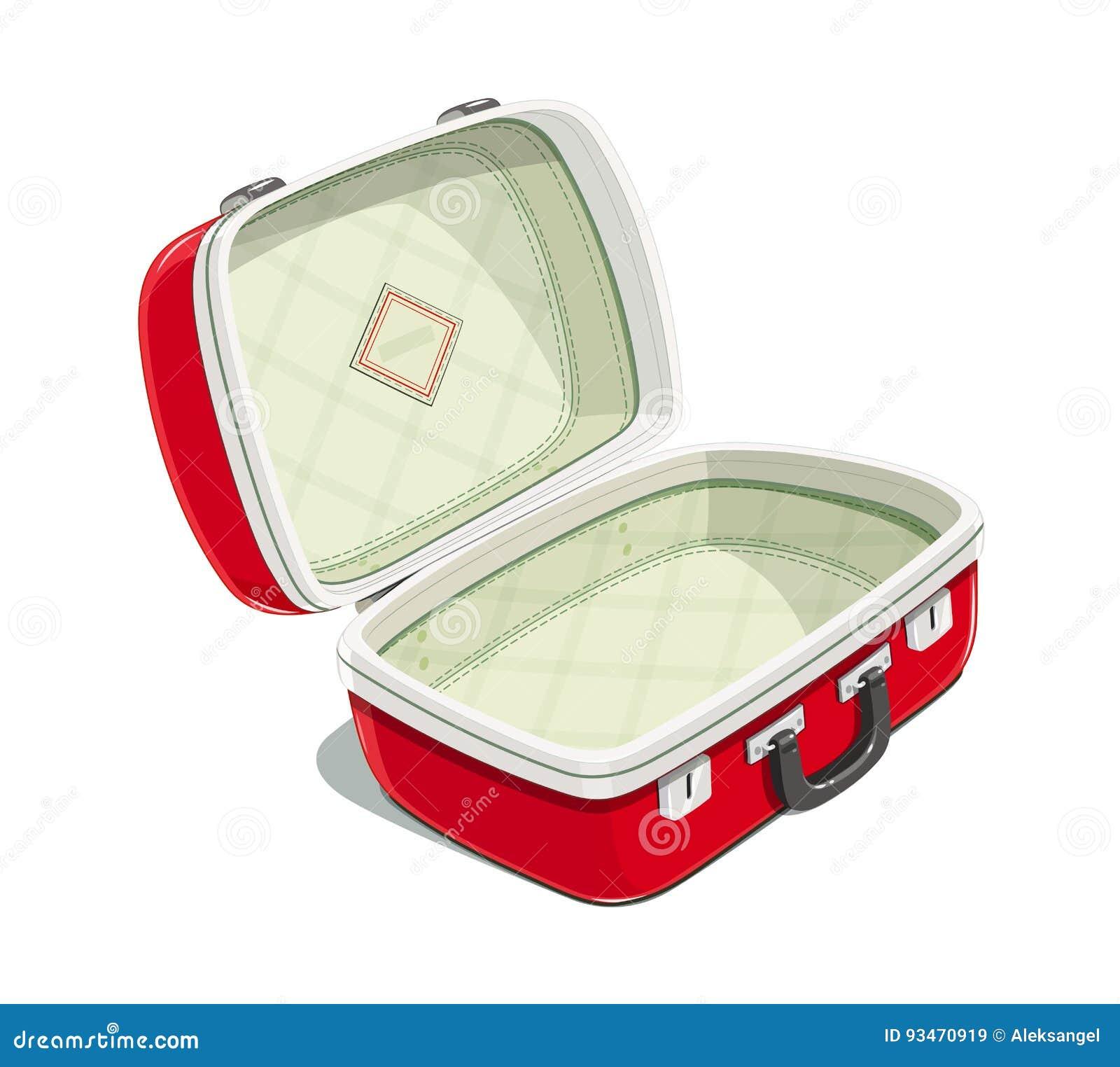 4ab27caf67 Valigia aperta di rosso per il viaggio Caso di viaggio Borsa di viaggio  Accessori che imballano i vestiti Fondo bianco isolato Illustrazione di  vettore