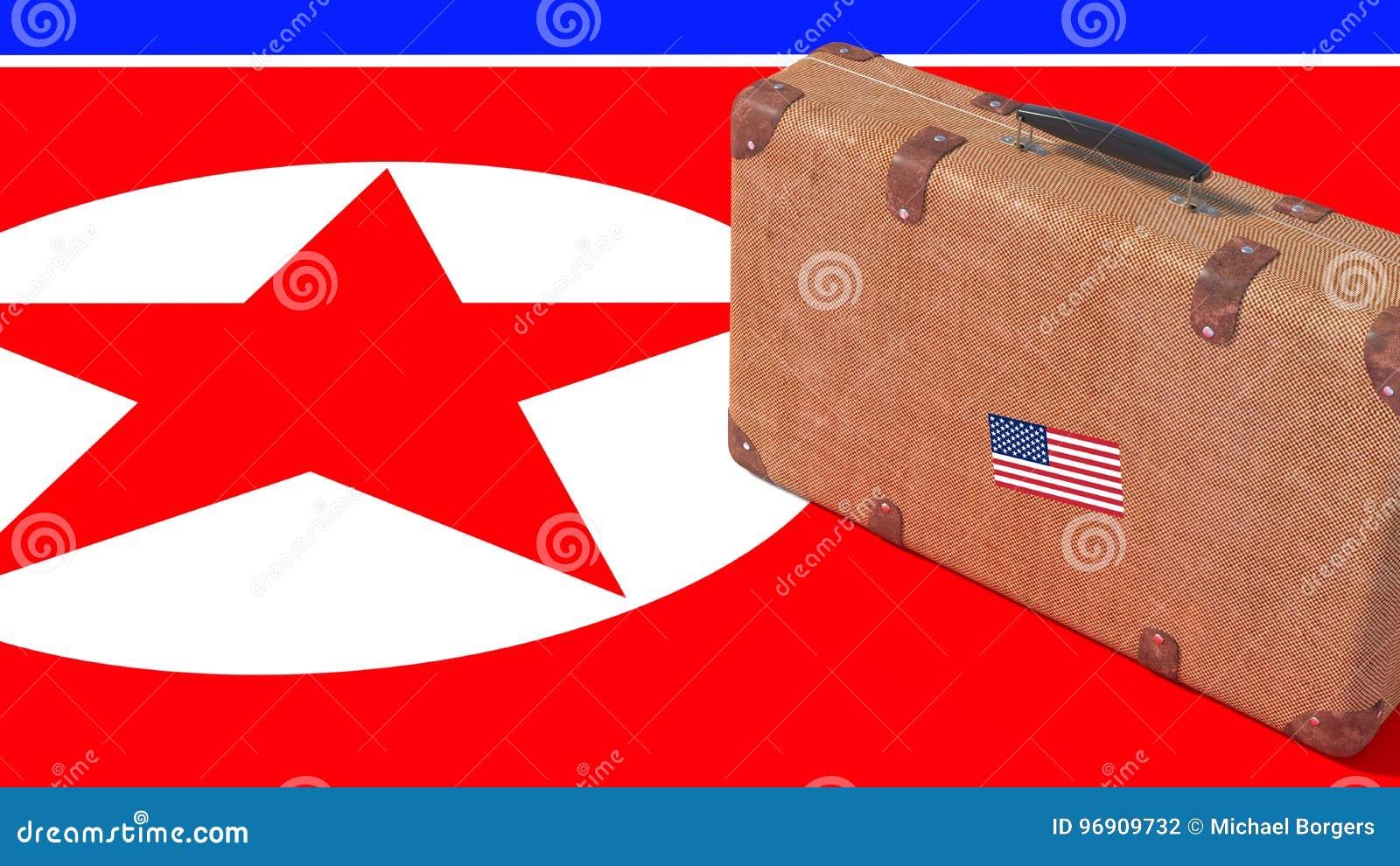 53b5168ae71b7a Valigia d'annata di Brown con la bandiera americana che sta  sull'illustrazione nordcoreana di concetto 3D di divieto di viaggio della  bandiera