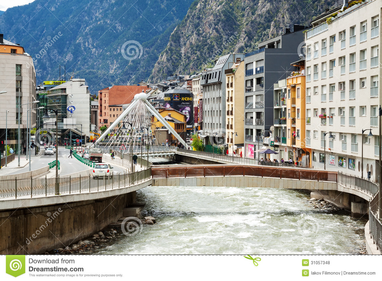 Andorra La Vella Andorra  city photos : ANDORRA LA VELLA, ANDORRA MAY 8: Valira river at city in May 8, 2013 ...