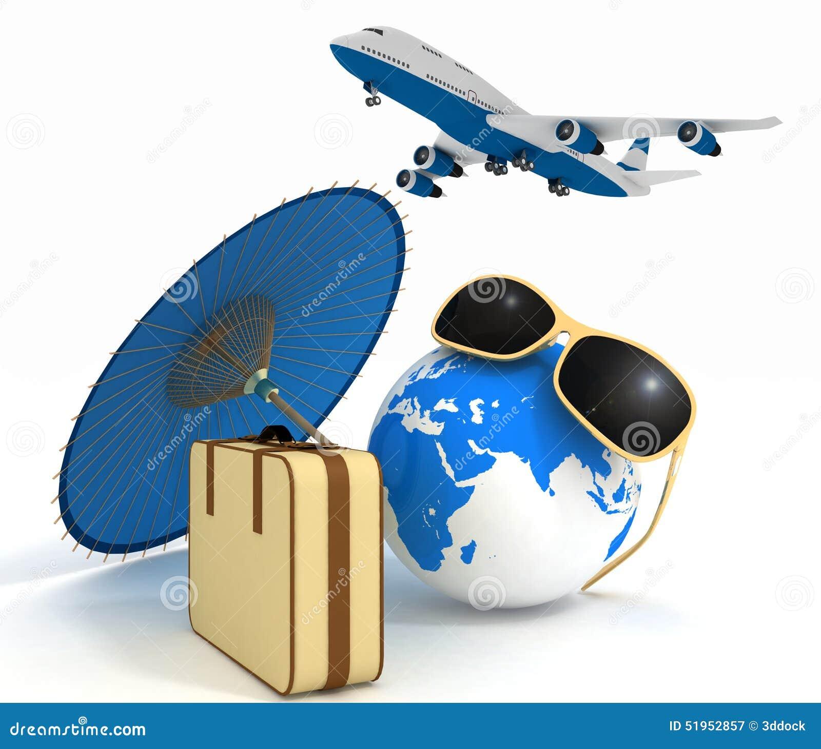 Valise 3d, avion, globe et parapluie Concept de voyage et de vacances