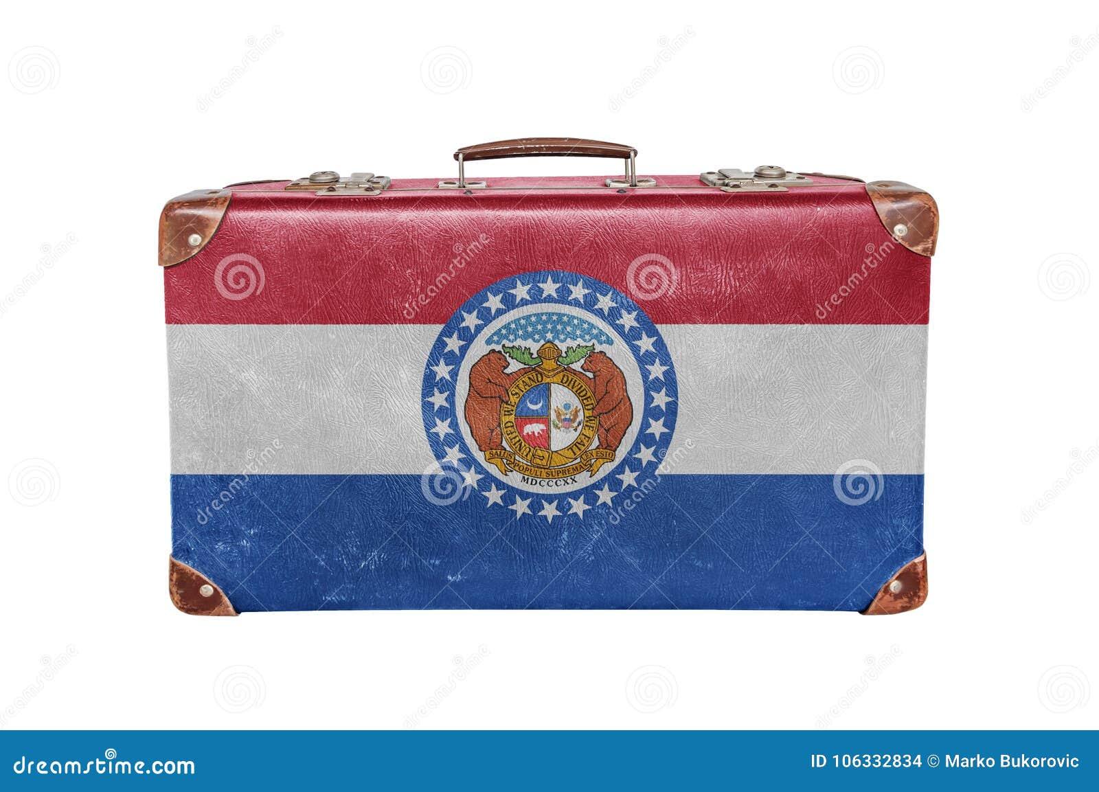 Valise de vintage avec le drapeau du Missouri