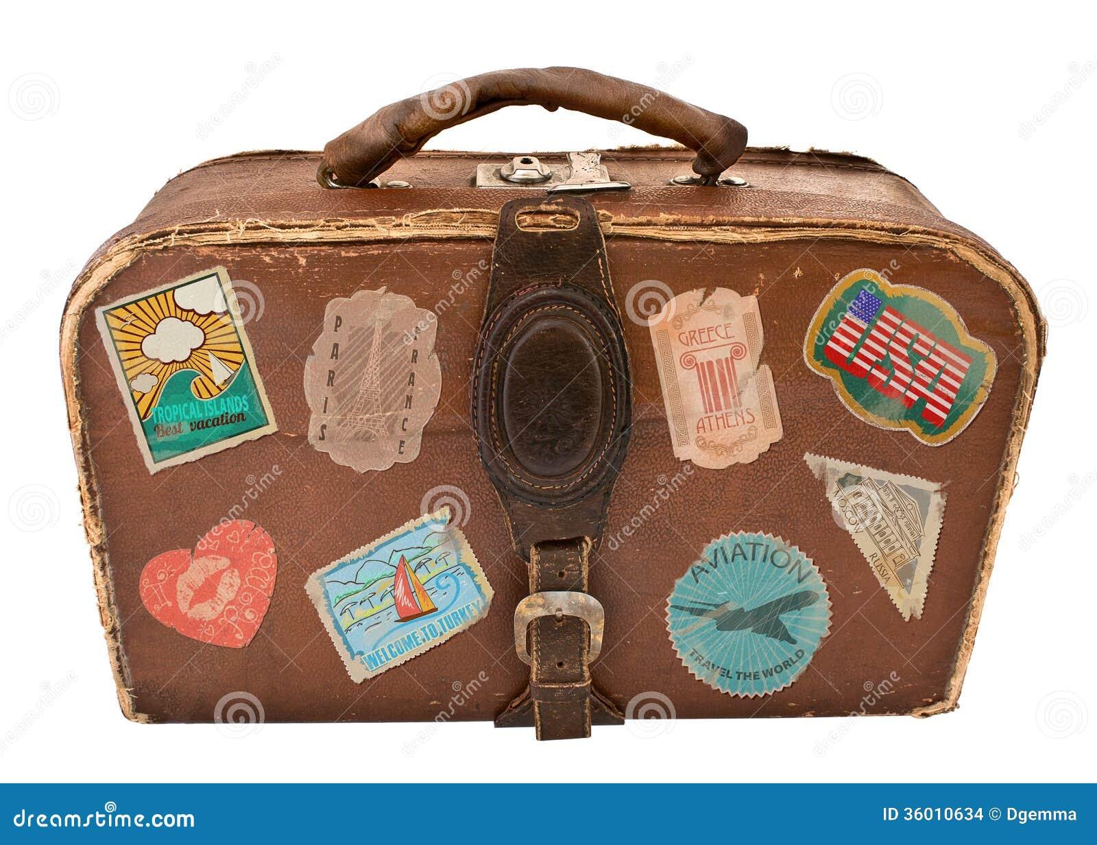 valise de voyage avec des autocollants images stock. Black Bedroom Furniture Sets. Home Design Ideas