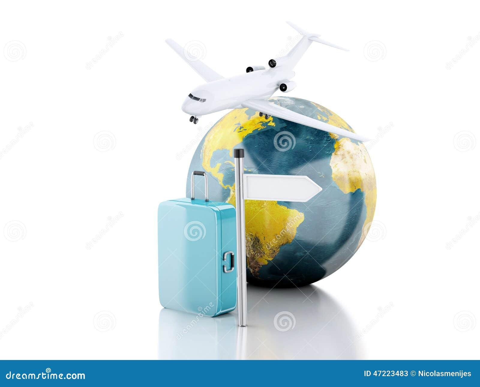 valise du voyage 3d avion et globe du monde concept de course illustration stock illustration. Black Bedroom Furniture Sets. Home Design Ideas