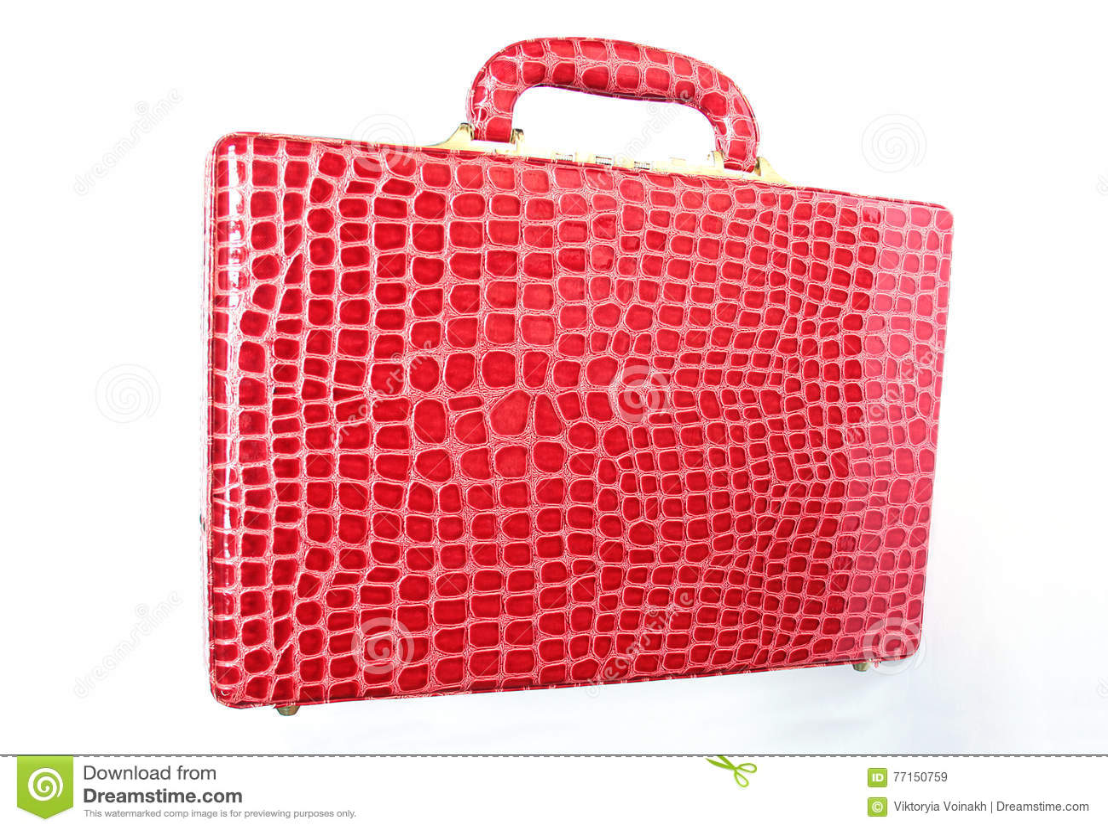 Valise en cuir rouge d isolement sur le blanc