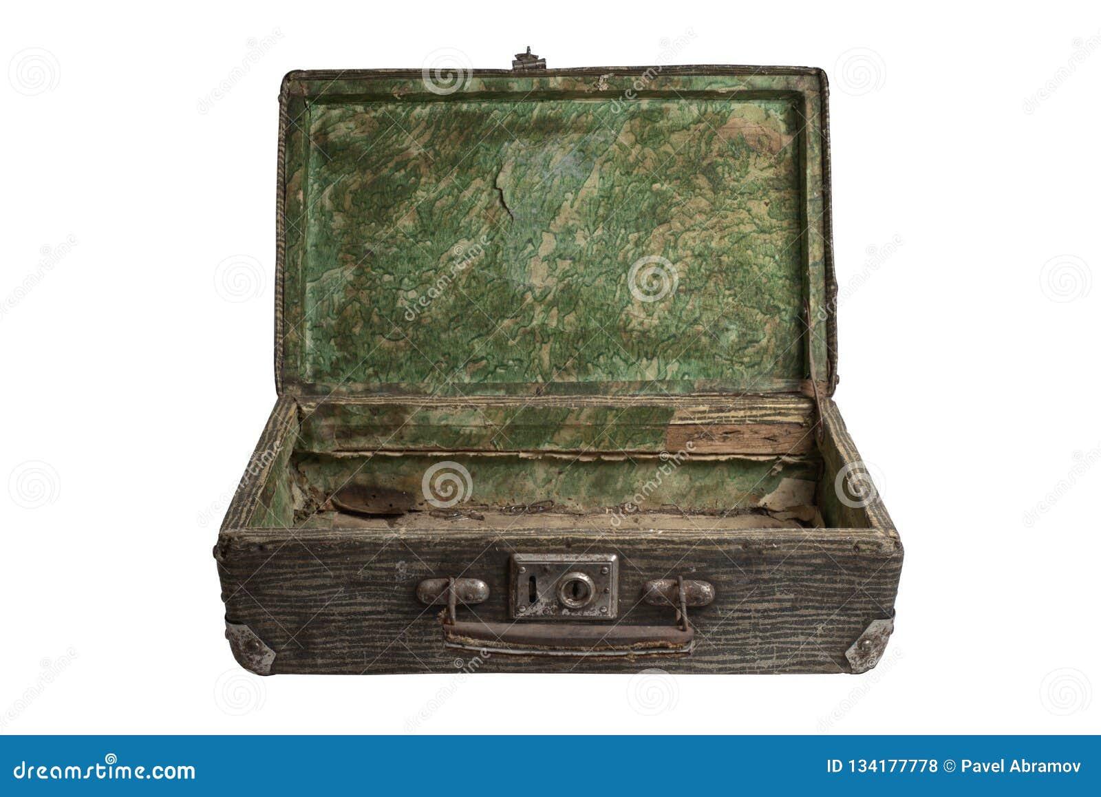 Valise ouverte rayée de cru