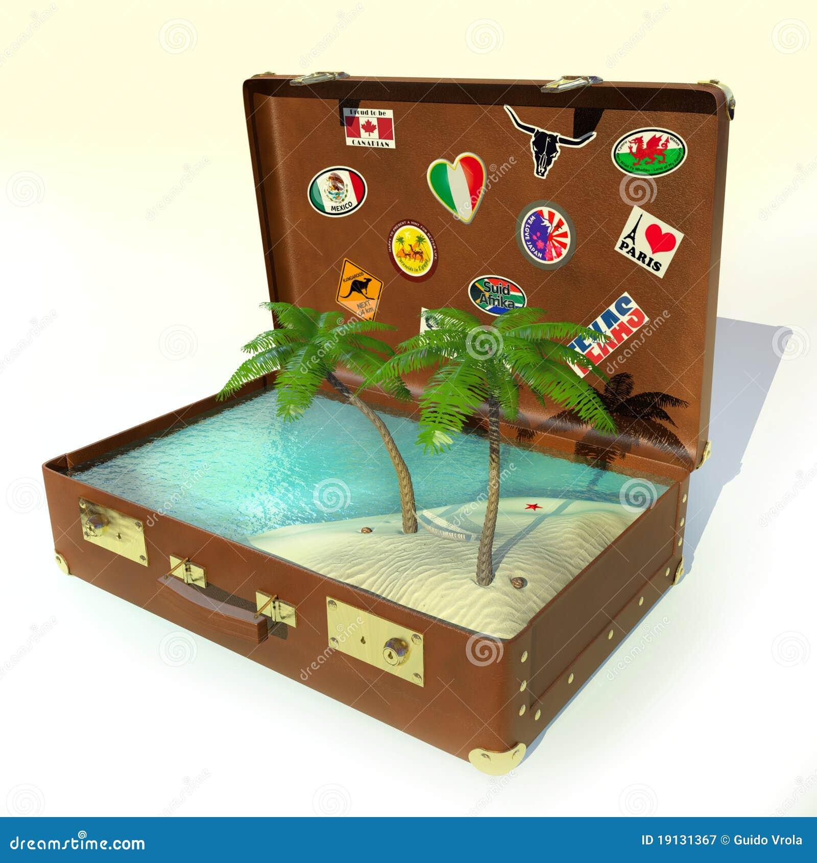 valise tropicale de voyage illustration stock illustration du plage 19131367. Black Bedroom Furniture Sets. Home Design Ideas
