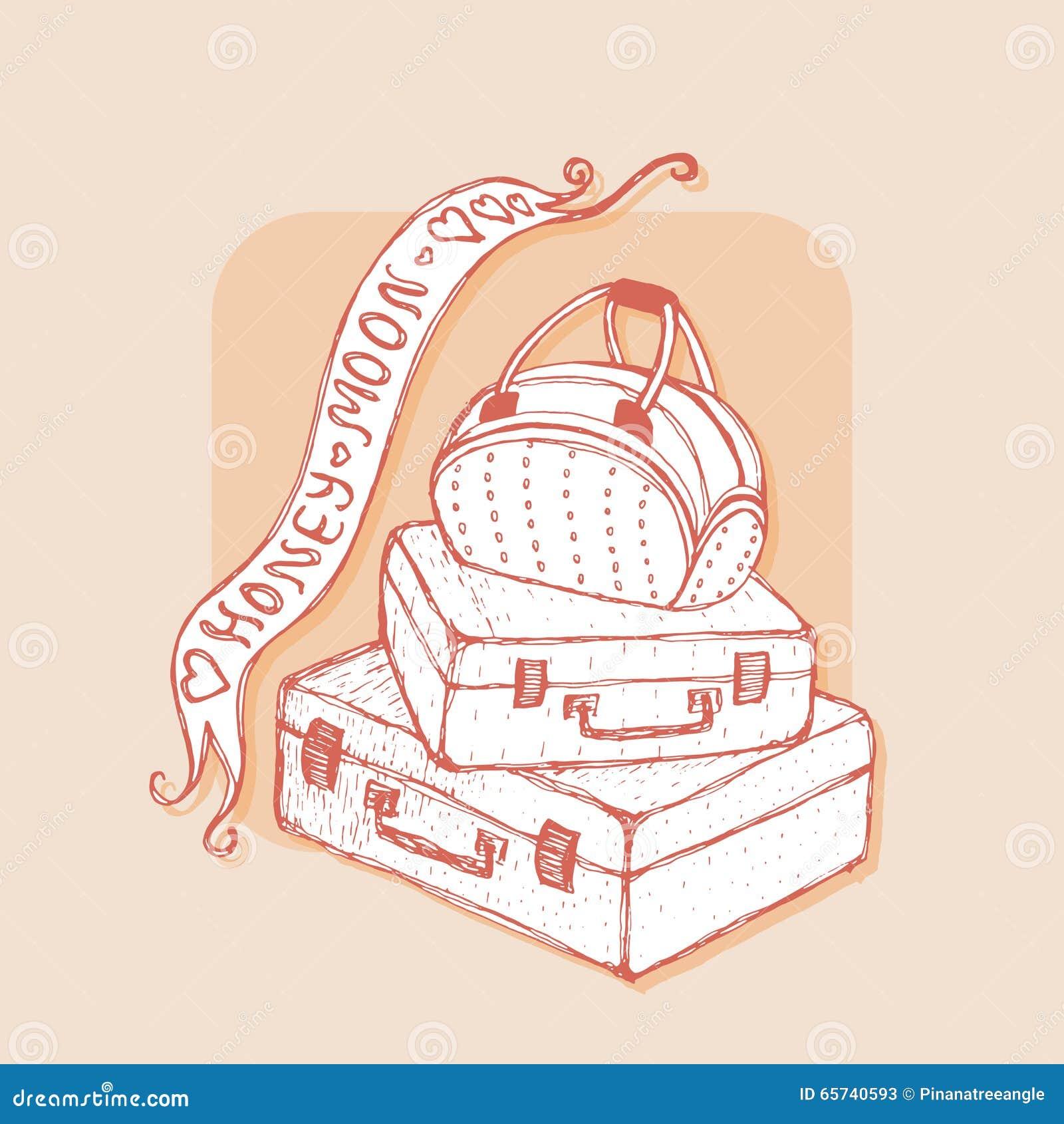 Valises et sac avec des rubans honeymoon