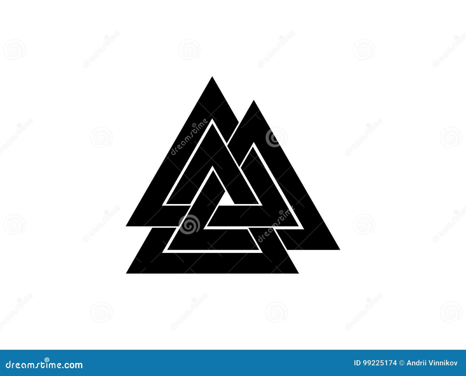 Valknut es un símbolo del extremo del ` s del mundo del árbol Yggdrasil Muestra de dios Odin Cultura nórdica Insignia del triángu