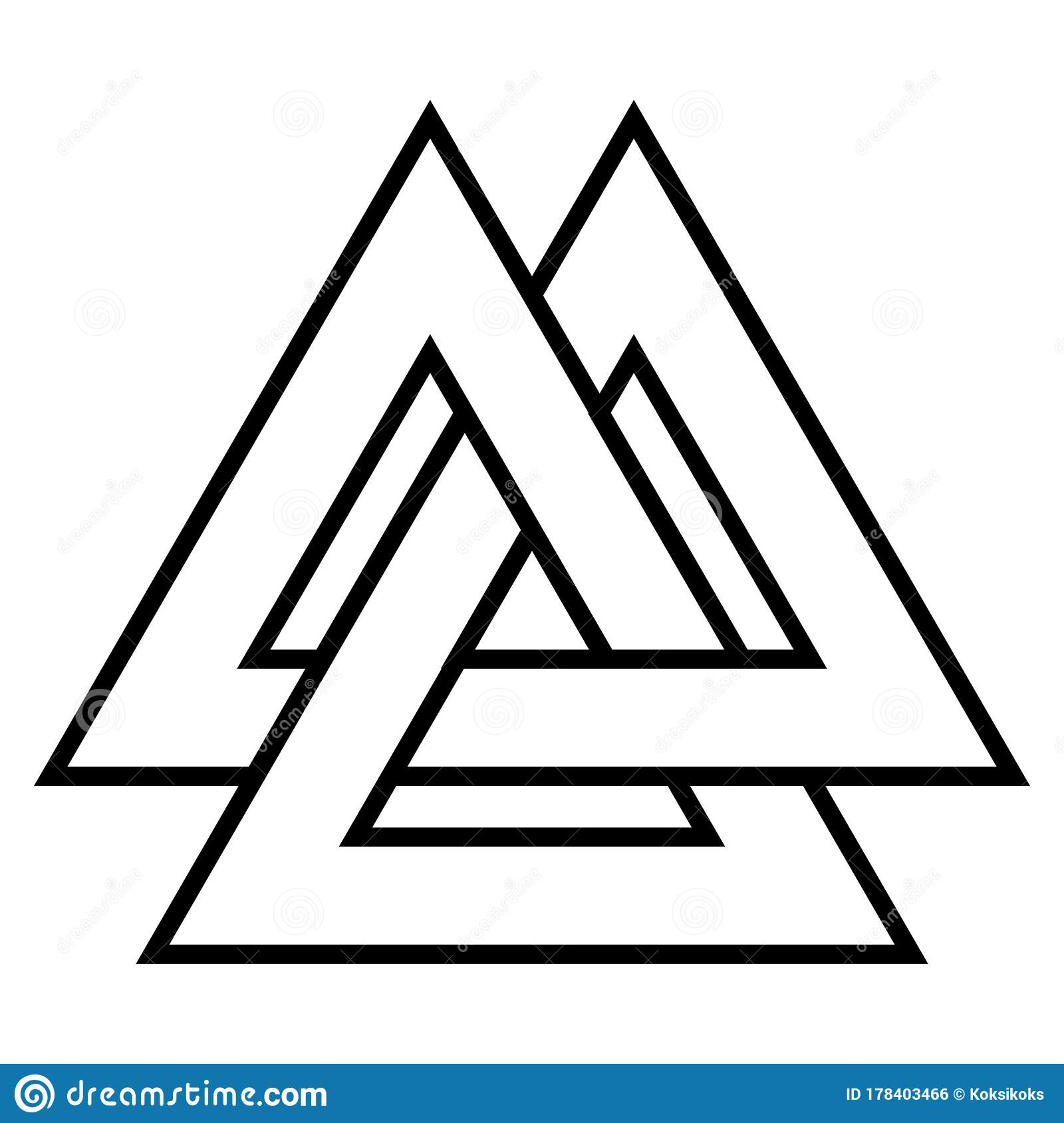 Valknut Symbol Triangle Logo Viking Age Symbol Celtic Knot Icon Vector From Triangle Tattoo Stock Vector Illustration Of Ancient Protection 178403466
