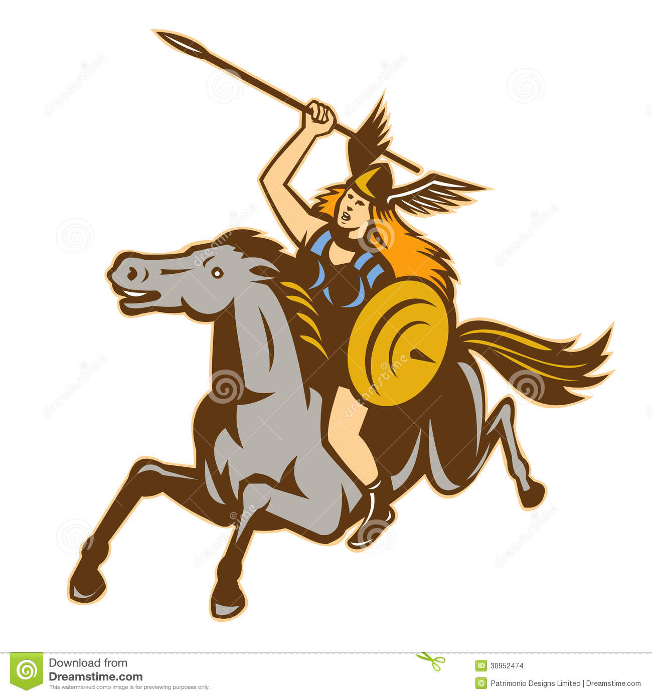 valkyrie amazon warrior horse rider stock images image 30952474