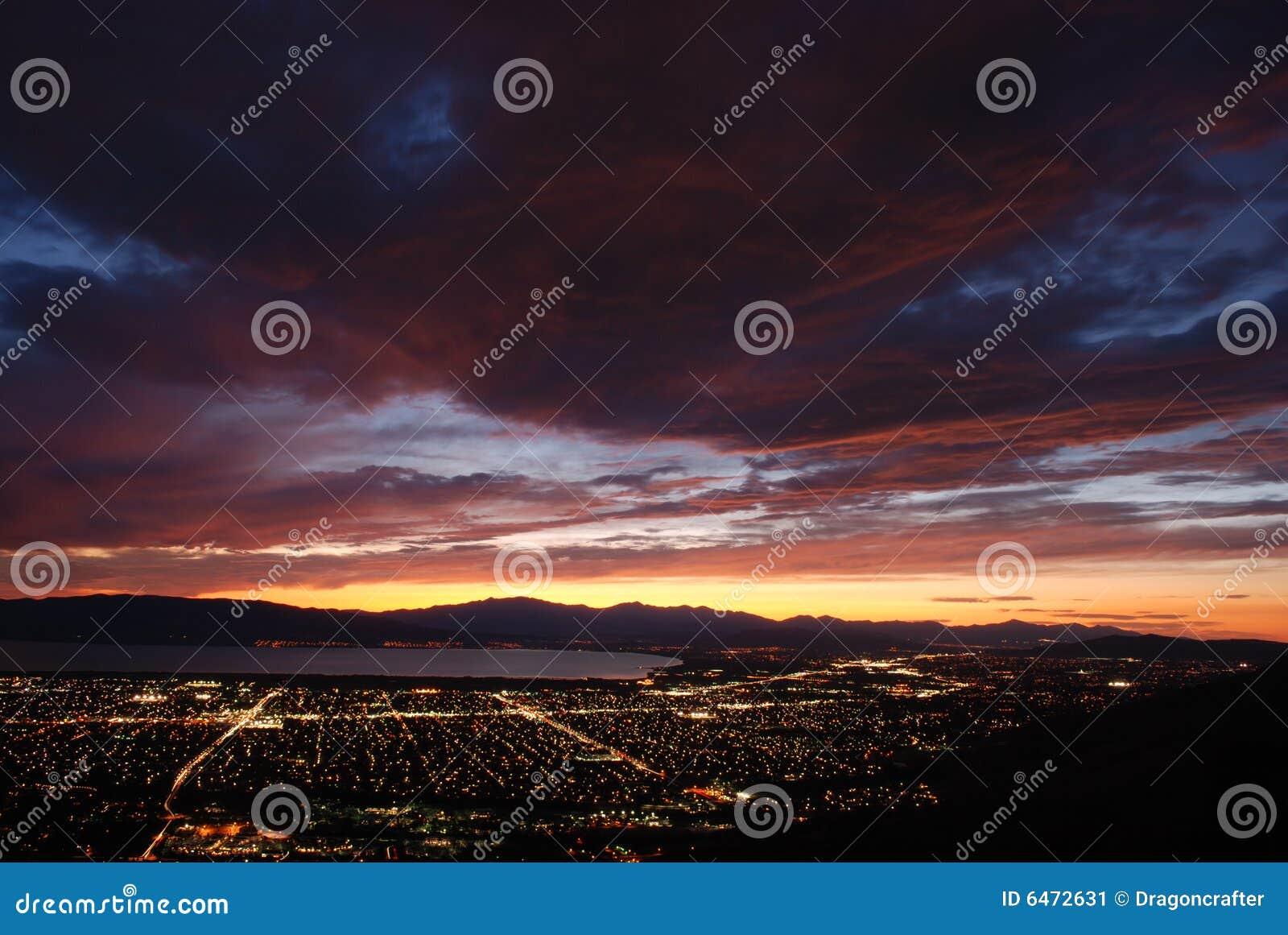 Vallée de l Utah de crépuscule