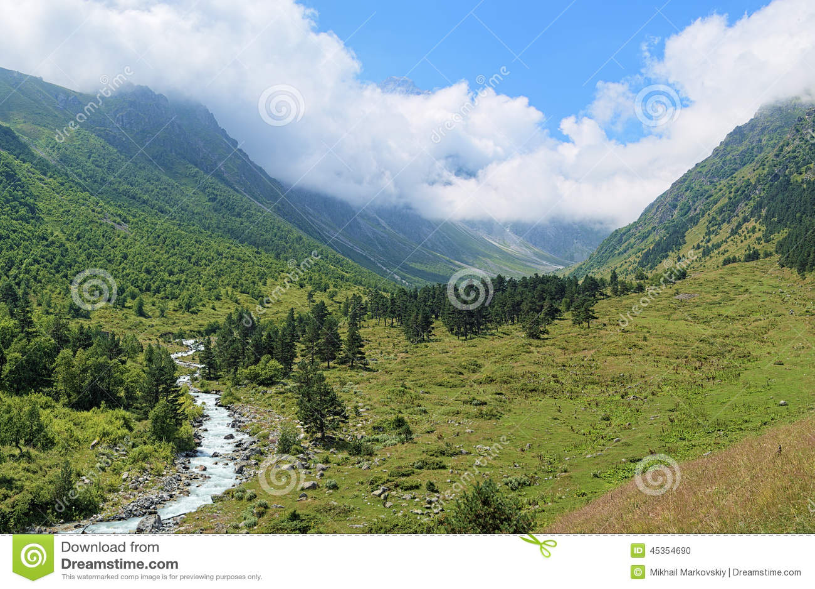 Vallée de rivière de Bilyagidon, Caucase, Russie