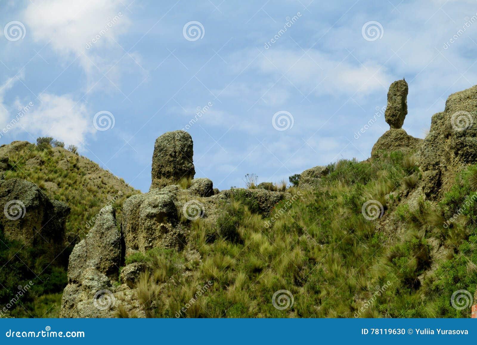 Vallée verte et formations de roche près de La Paz en Bolivie