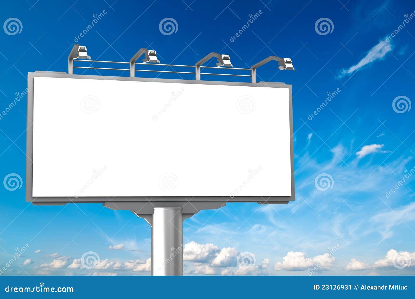 Valla publicitaria vac a del anuncio en el fondo del cielo - Imagen de vallas ...
