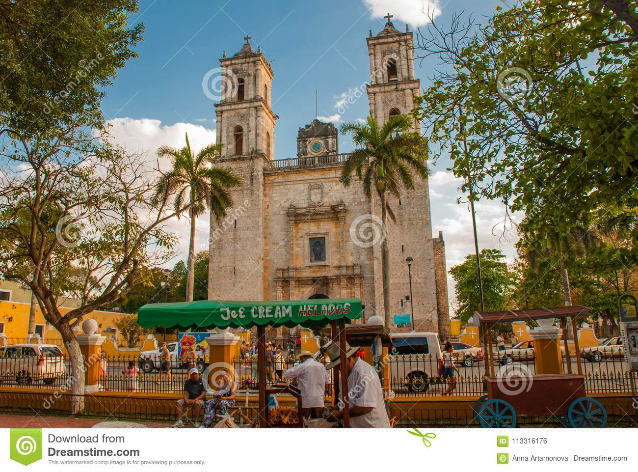 Valladolid Mexico Cathedral De San Servasio During The Day In Valladolid The City In Yucatan Mexico Editorial Photo Image Of Heritage Central 113316176