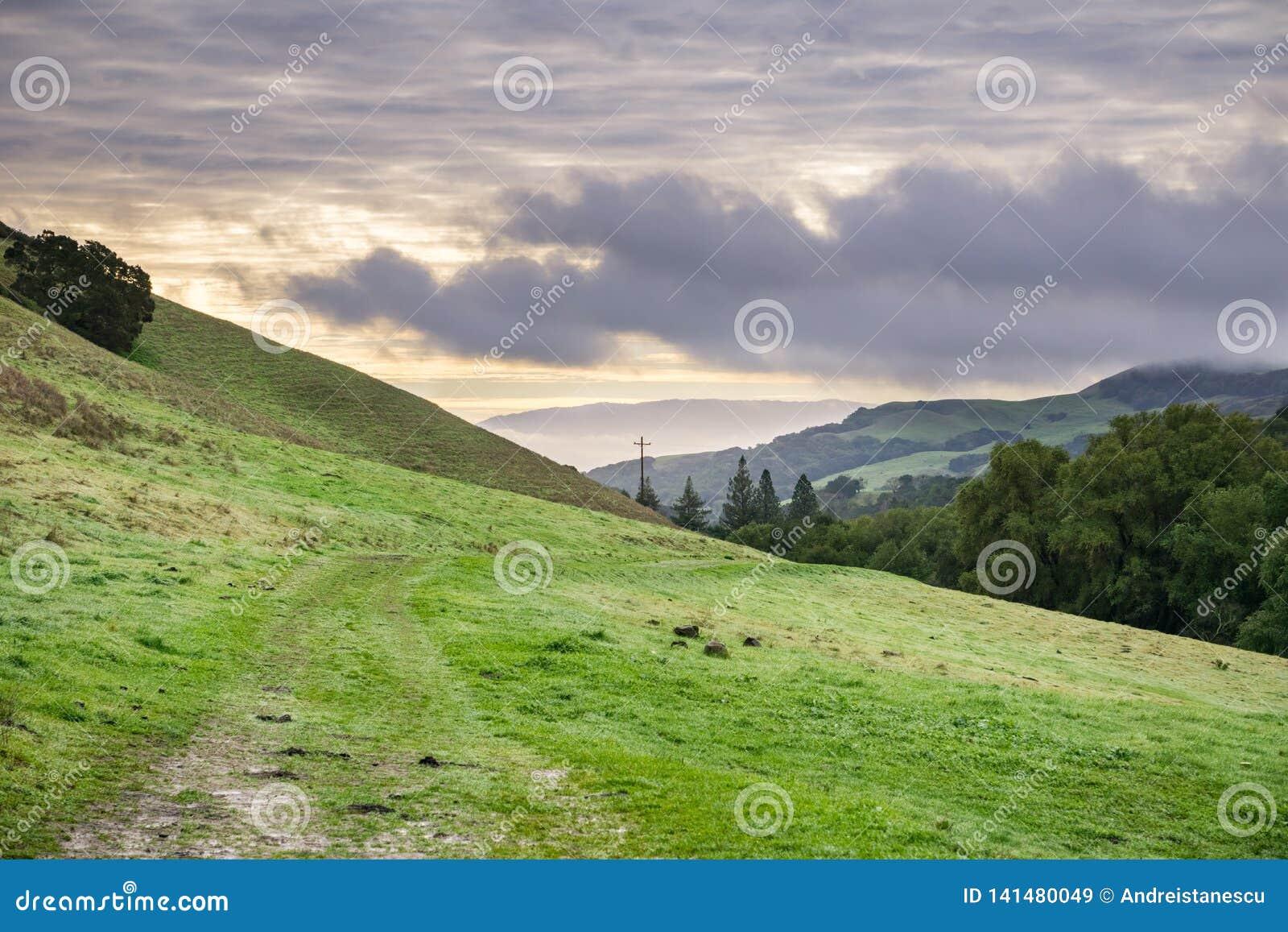 Valle en Las Trampas Regional Wilderness Park en un día nublado, el condado de Contra Costa, San Francisco Bay del este, Californ