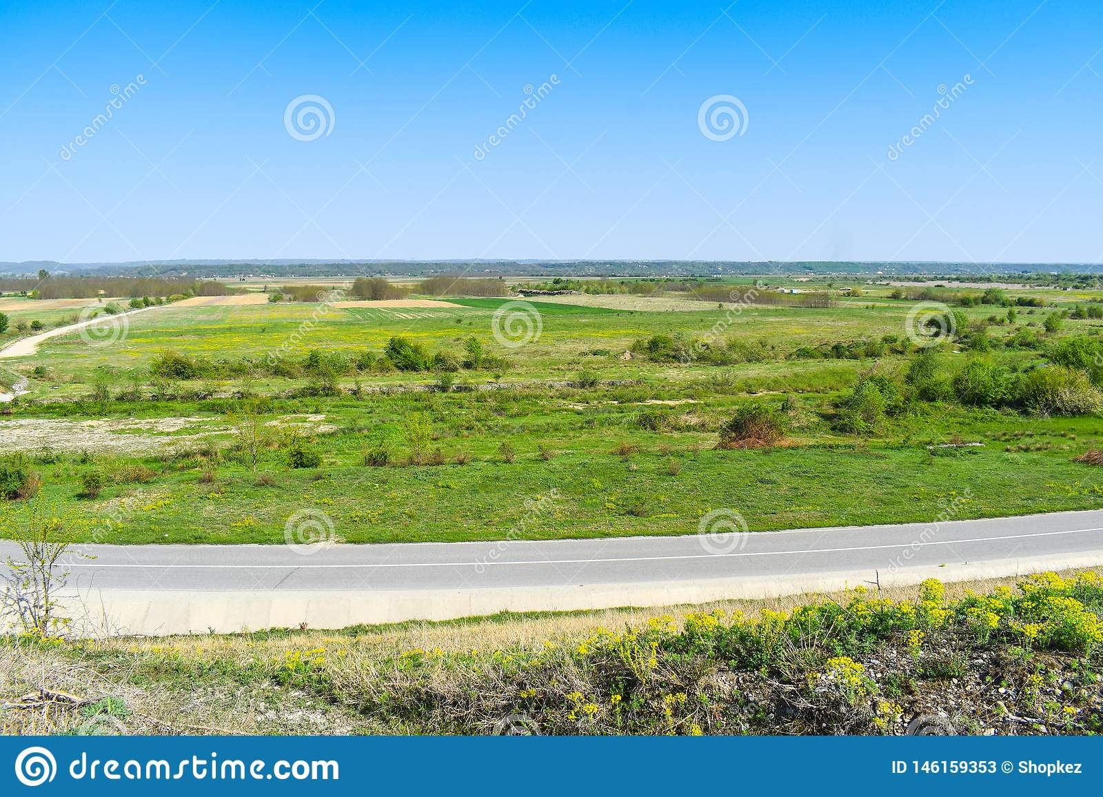 Valle verde hermoso en un día de verano soleado brillante