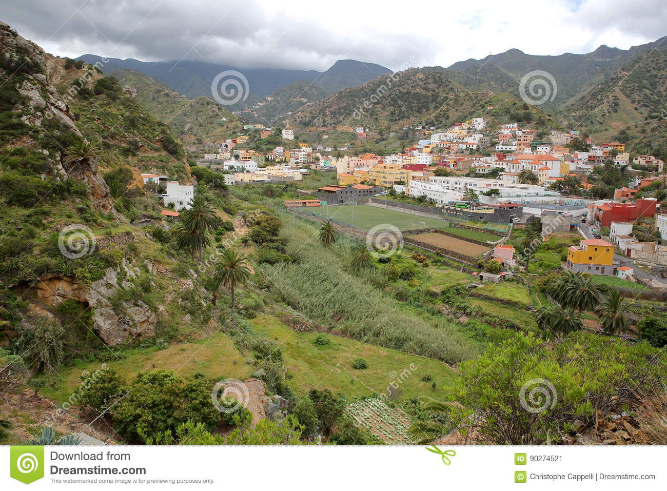 VALLEHERMOSO, LA GOMERA, SPAIN: General view of the valley with terraced fields and mountains