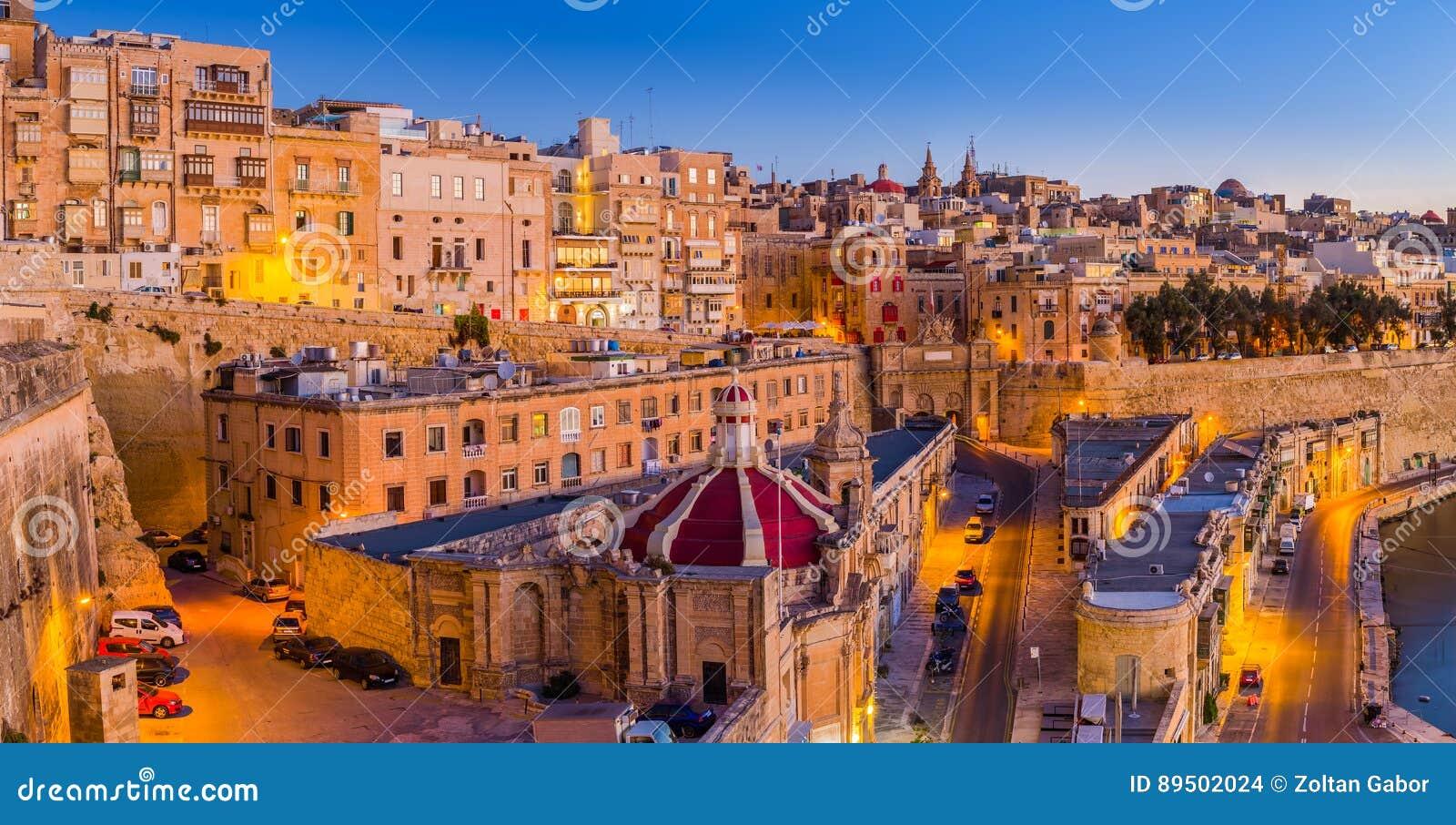 Valletta, Malta - die traditionellen Häuser und die Wände von Valletta