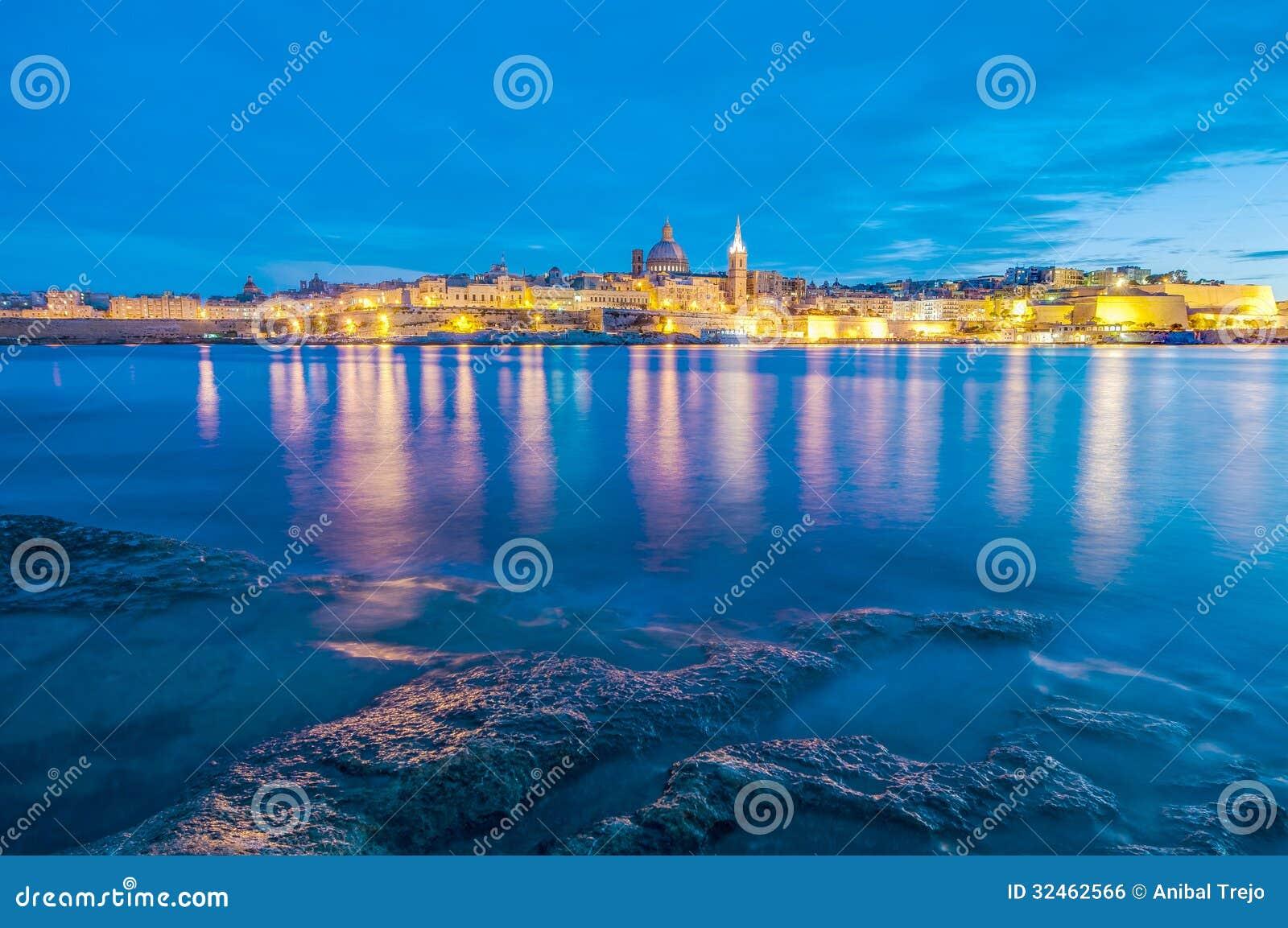 Valletta-Seeseiteskylineansicht, Malta
