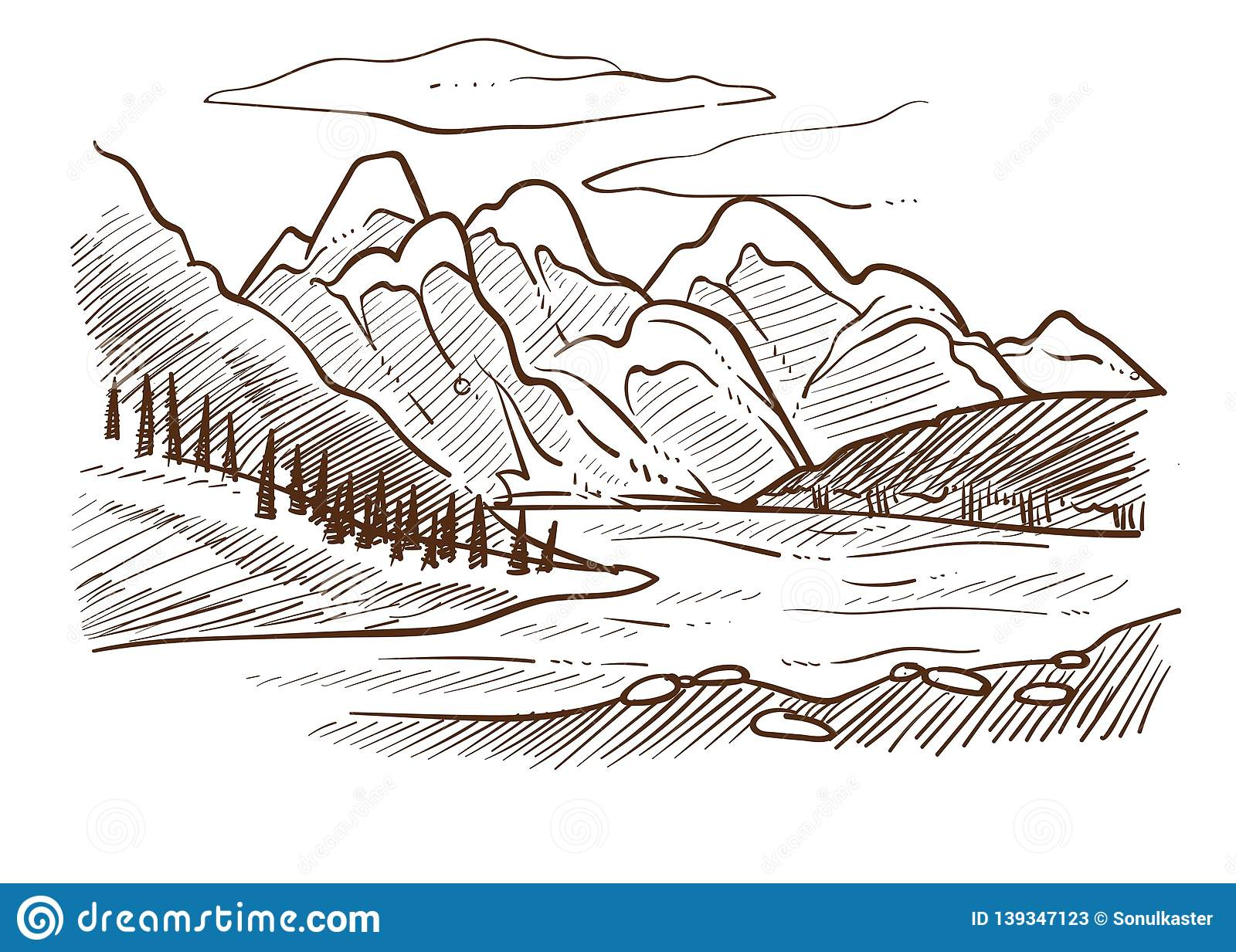 Landscape mountains and river forest and hills valley sketch vector wild nature rocks and trees water stones cloud in sky european view or scene pencil