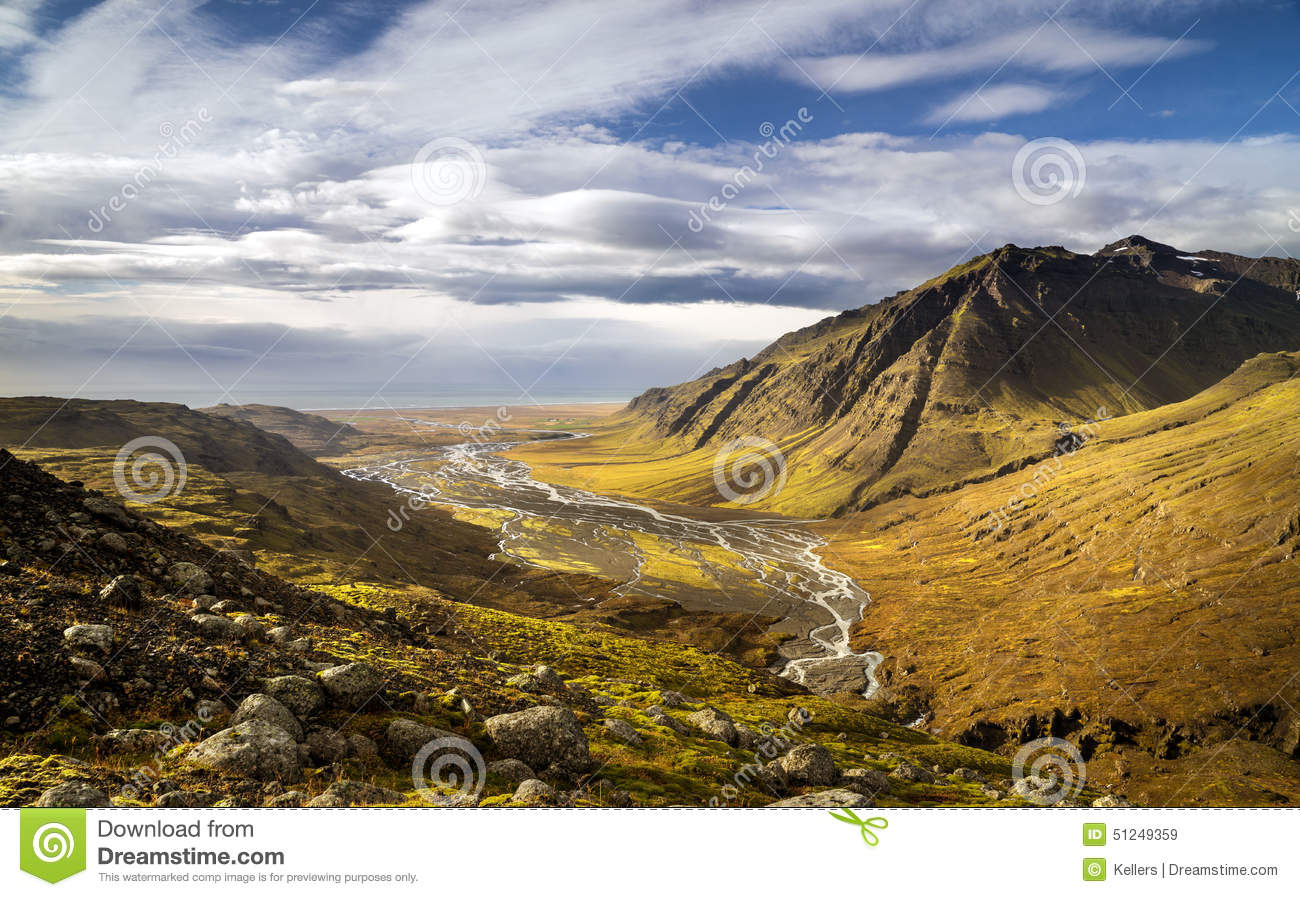Download Valley stock image. Image of extreme, area, iceland, grass - 51249359
