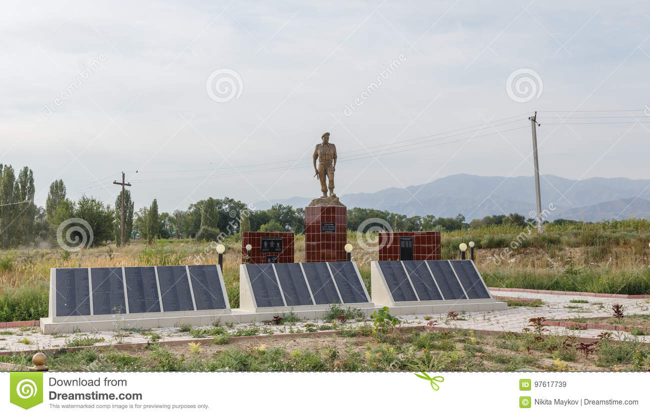 Valley Talas, Kyrgyzstan - August 15, 2016: Memorial to fallen s