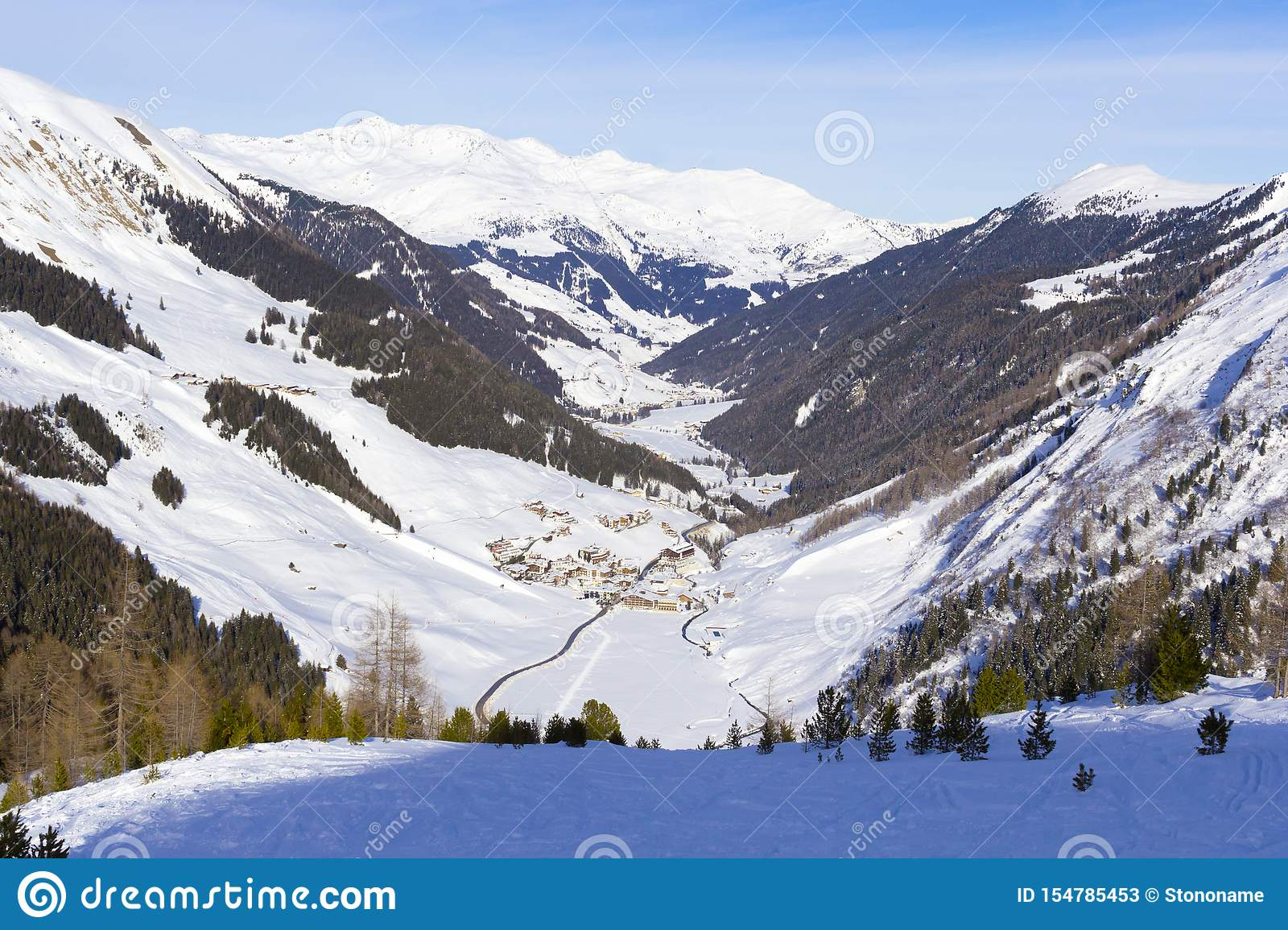 Valley with village in Austrian Alps winter. Hintertux mountain landscape at Tirol, Top of Europe