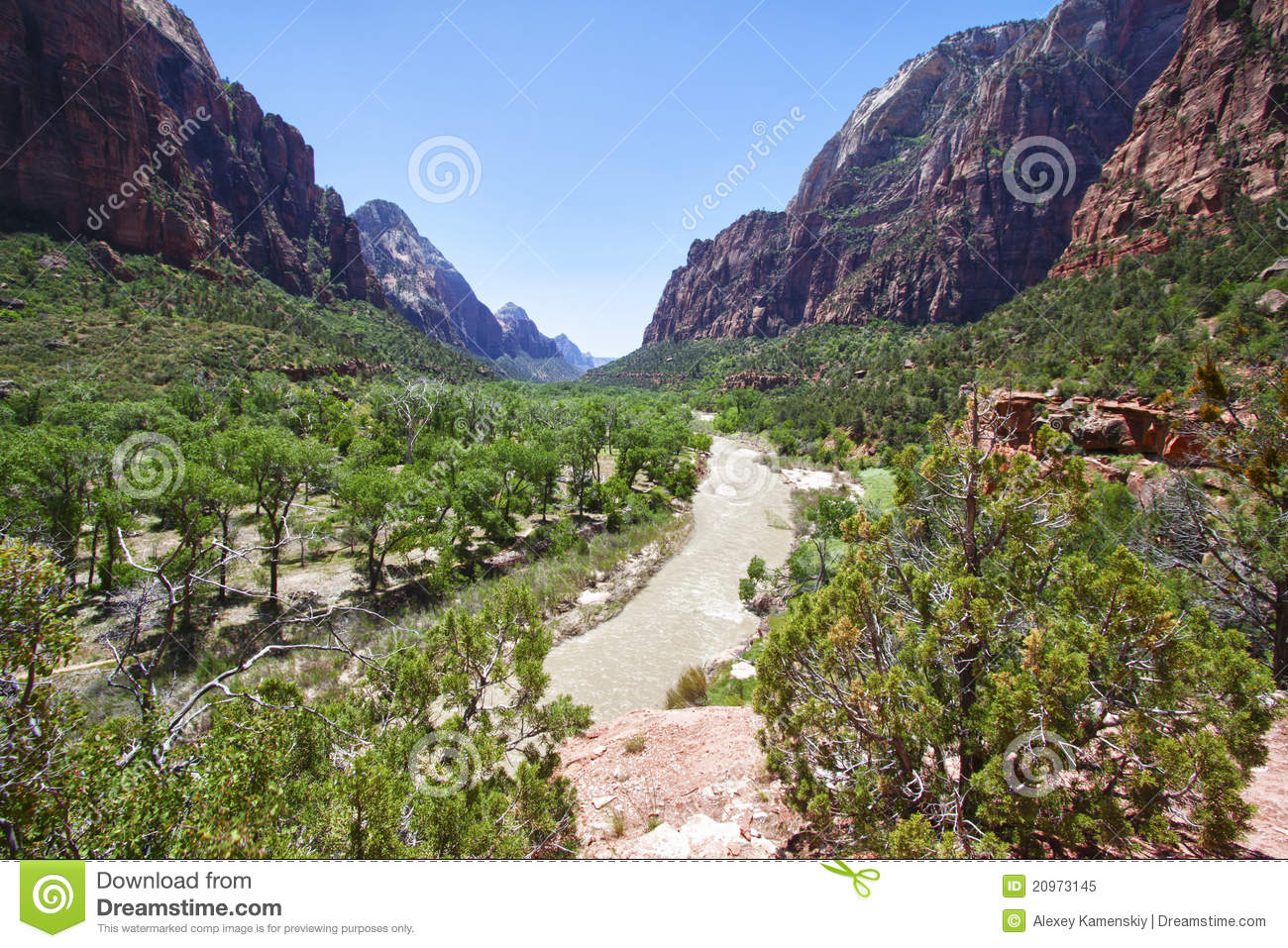 Valley in the Zion Canyon National Park, Utah