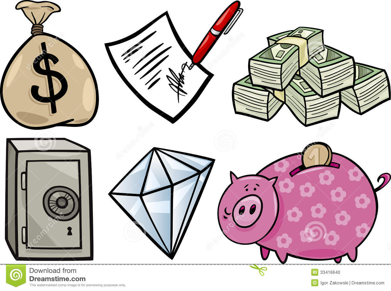 ... of Business Valuable Objects or Wealth Concepts Objects Clip Art Set