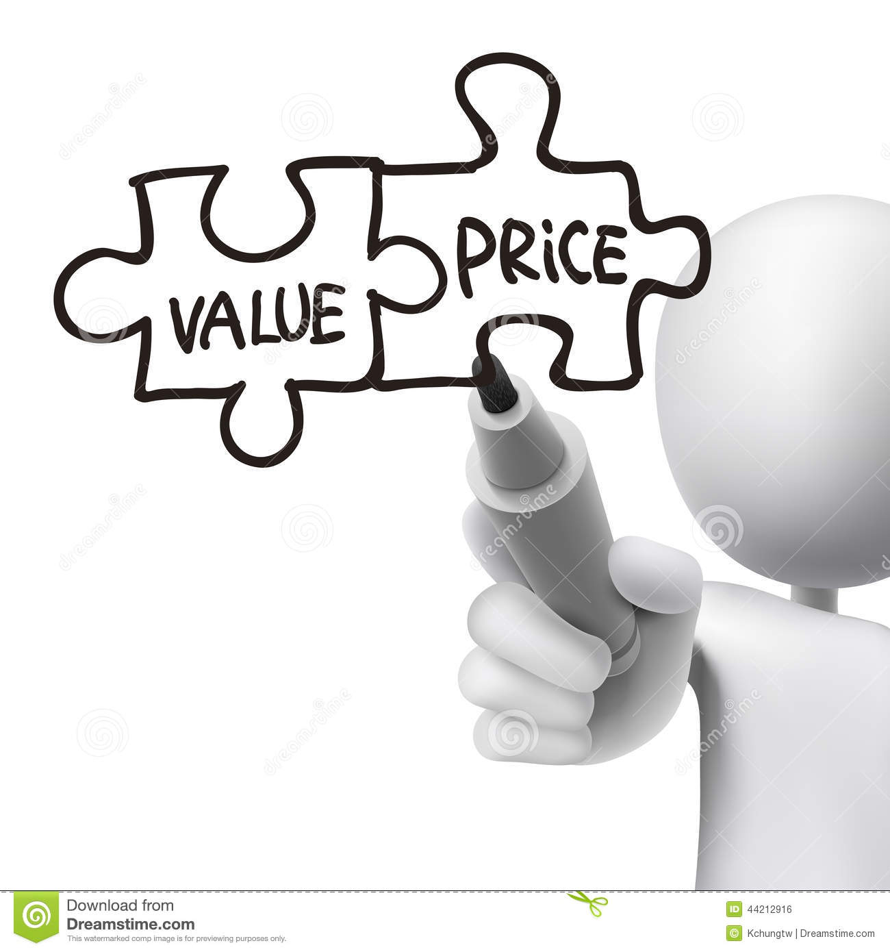 Value And Price Words Written By 3d Man Stock Vector - Image: 44212916