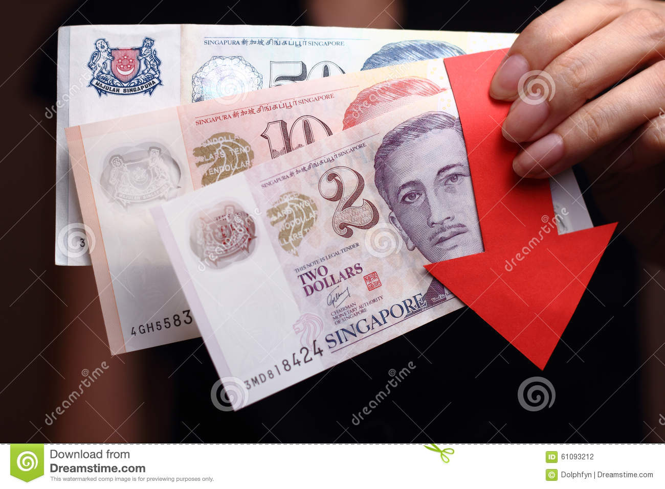 Singapore Dollar With A Red Arrow To Imply The Fall Or Devaluation Of Singapore Dollar Currencies