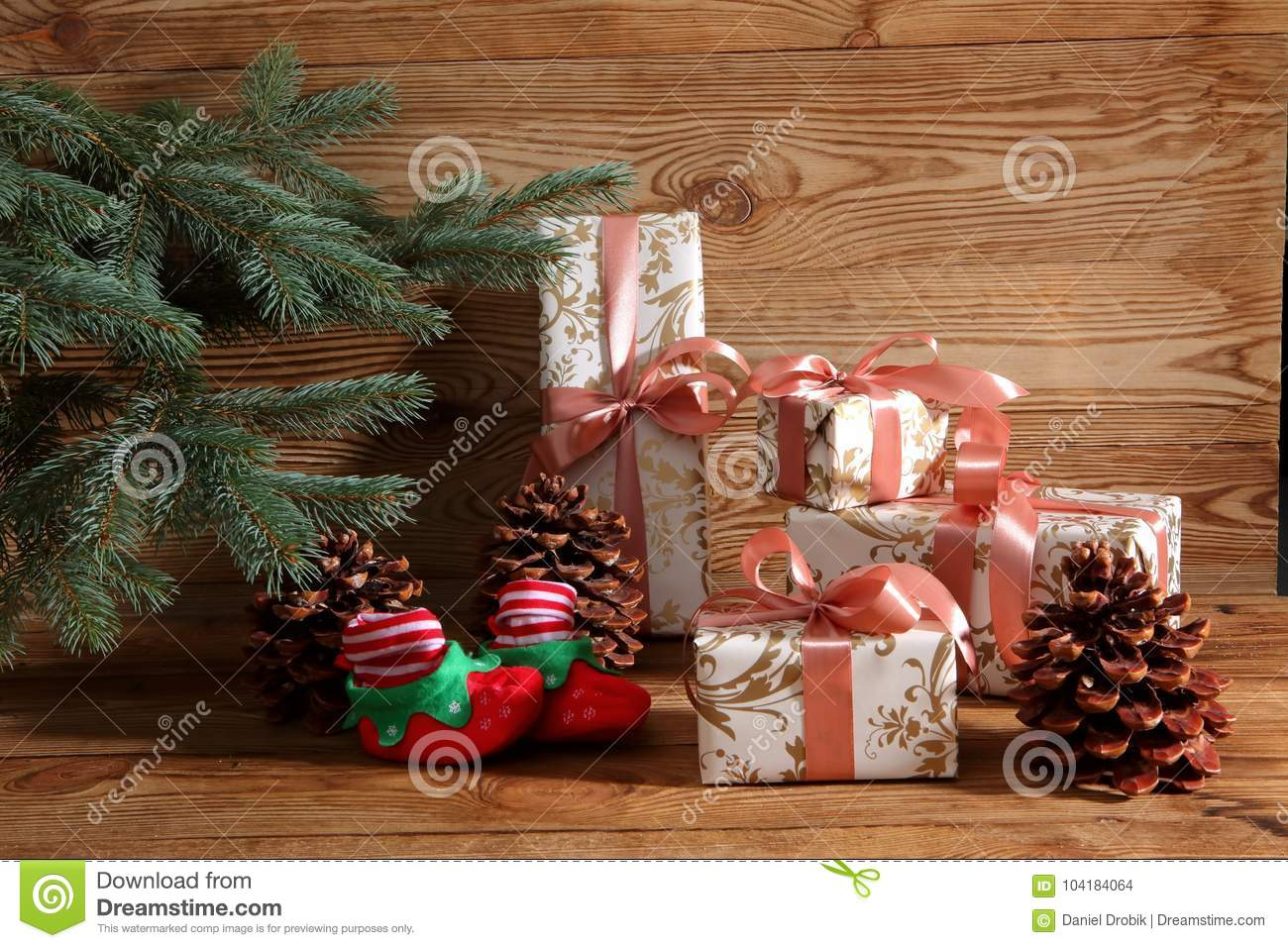 Gifts For Christmas Are Always A Pleasant Surprise. Stock Photo ...